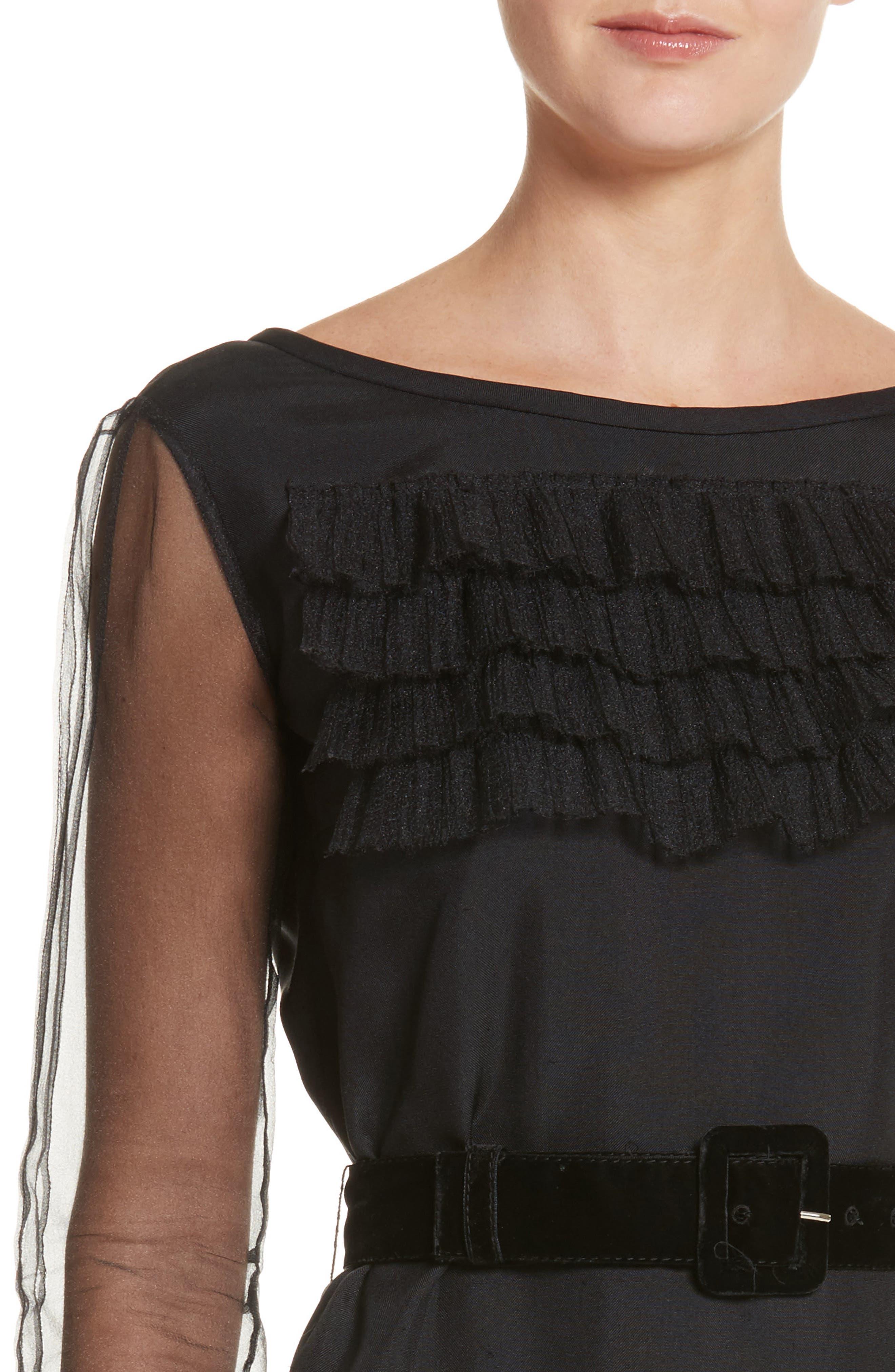 Silk Tulle Ruffle Dress,                             Alternate thumbnail 4, color,                             001