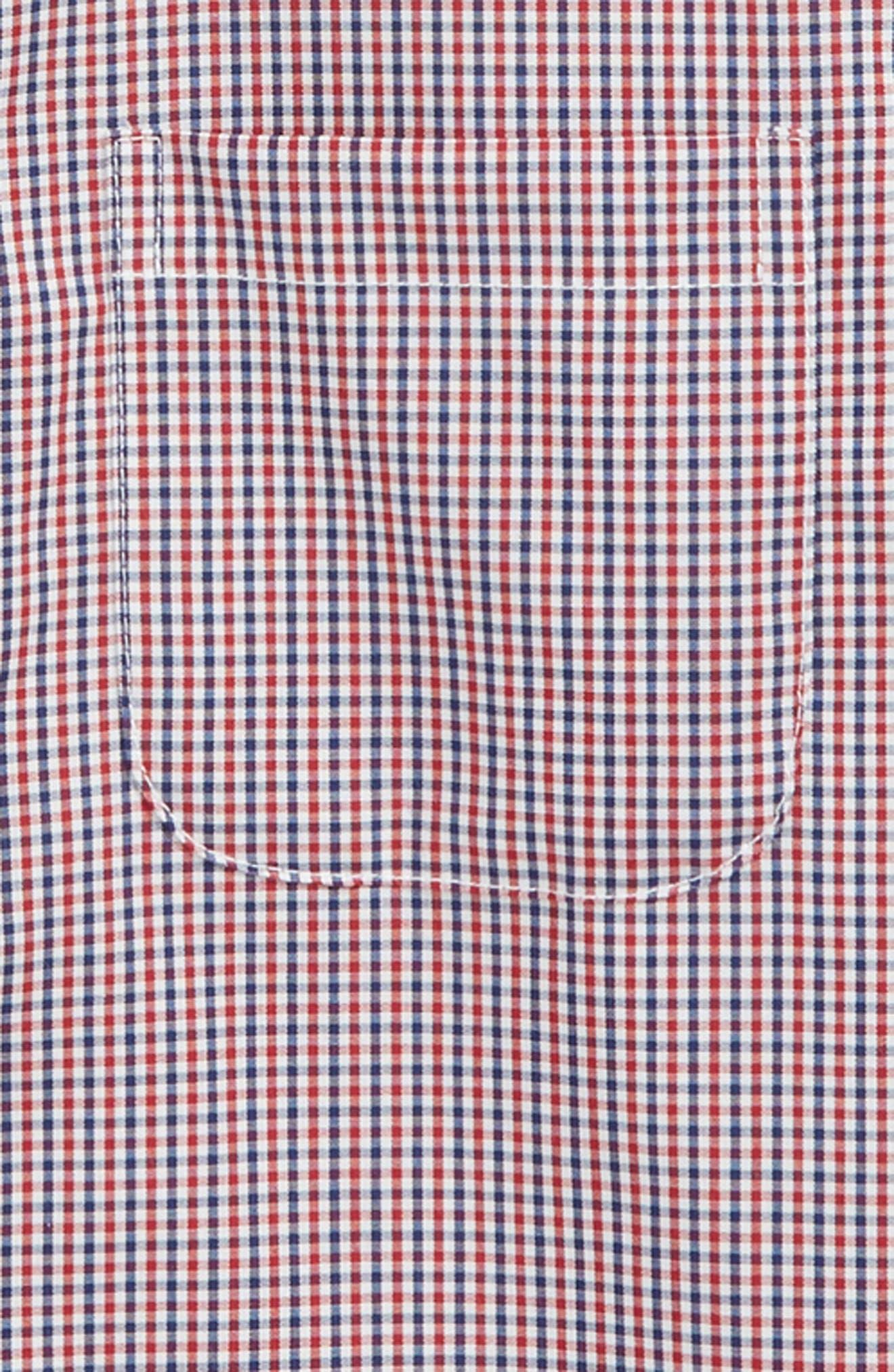 Non-Iron Check Dress Shirt,                             Alternate thumbnail 2, color,                             RED SAGE- NAVY PLAID
