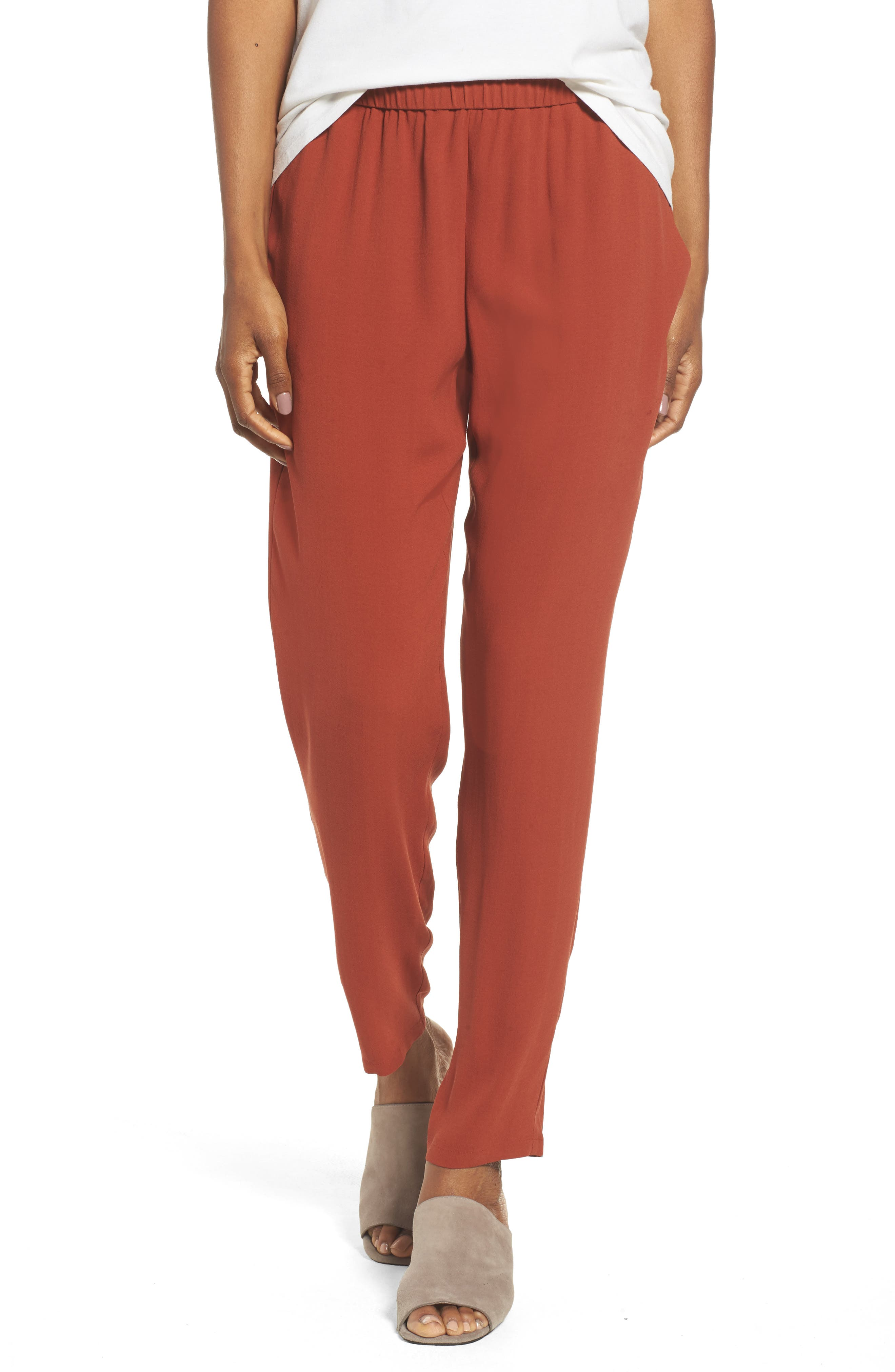 Slouchy Silk Crepe Ankle Pants,                             Main thumbnail 11, color,