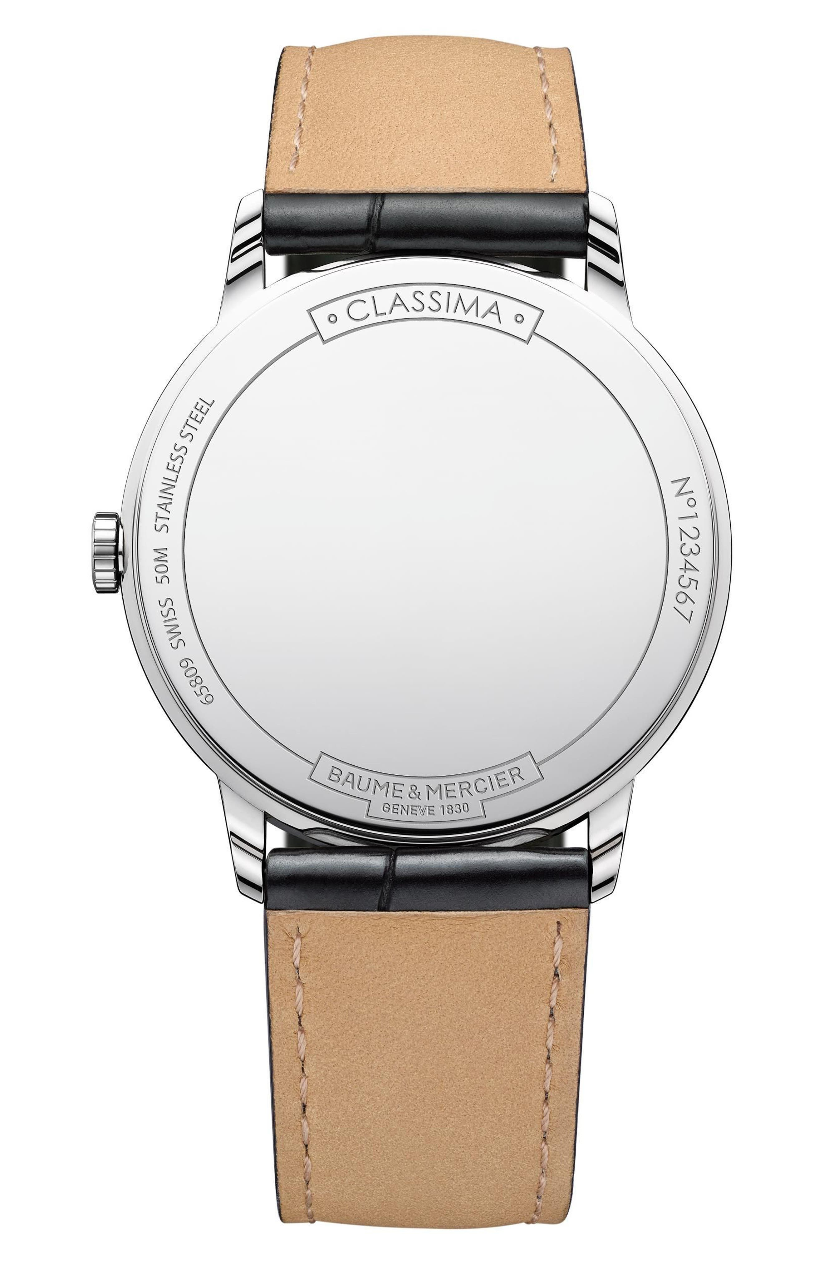 Baume & Mercier Classima Leather Strap Watch, 40mm,                             Alternate thumbnail 2, color,                             SILVER/ BROWN