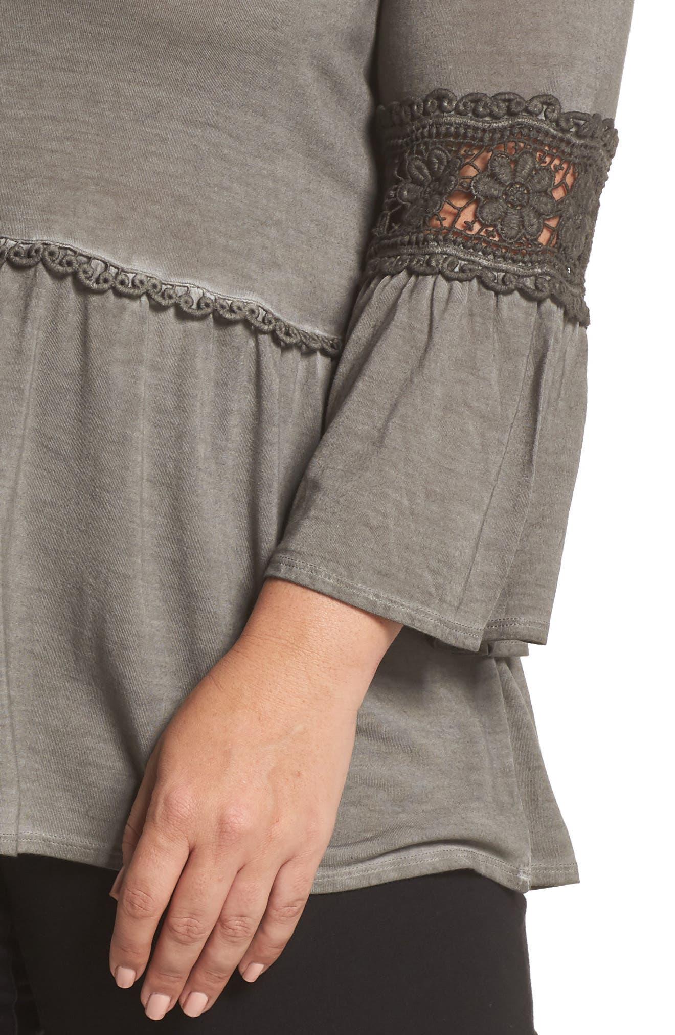 DANTELLE,                             Oil Dye Knit Lace Inset Top,                             Alternate thumbnail 4, color,                             FALCON