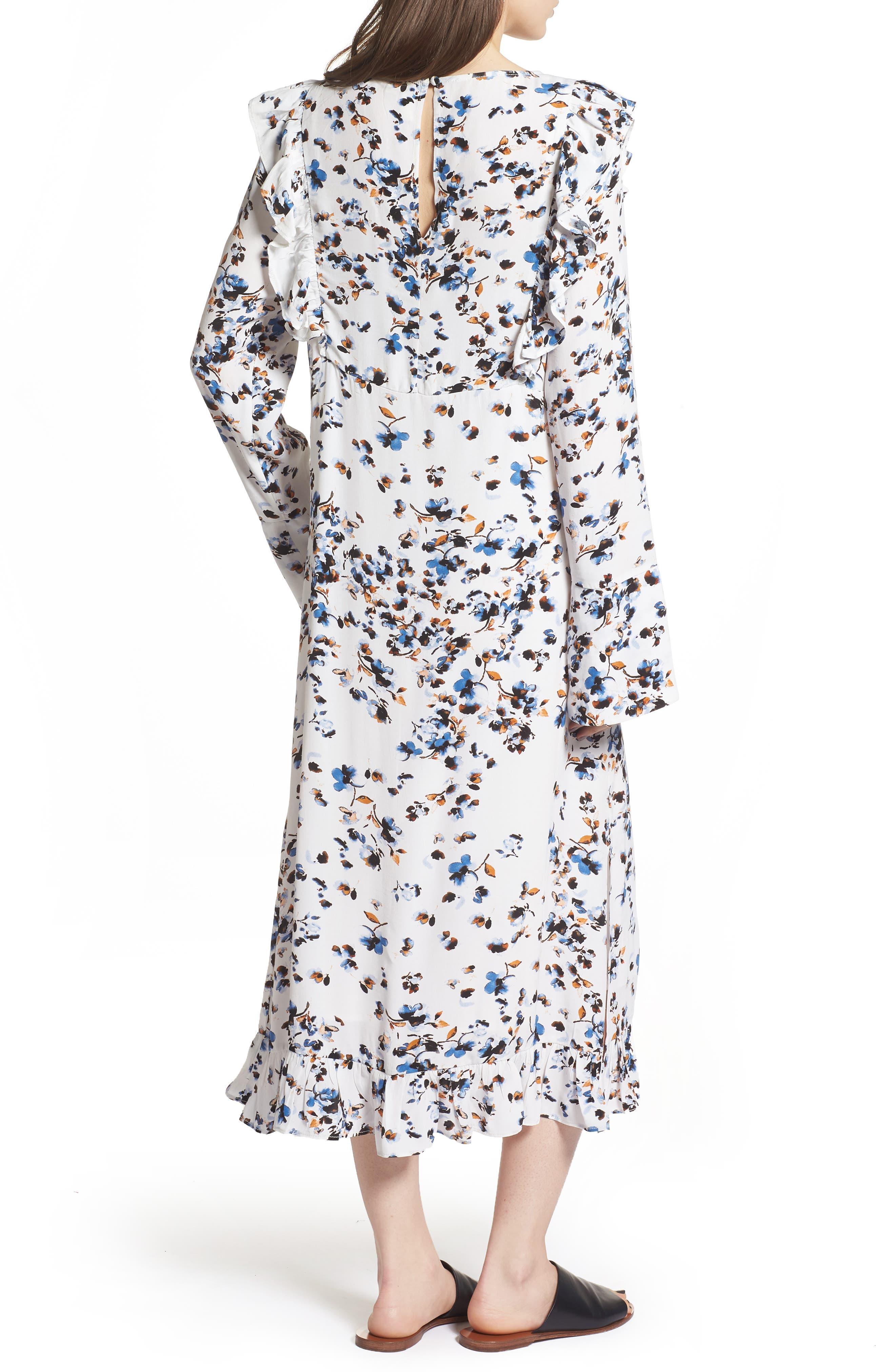 Print Ruffle Maxi Dress,                             Alternate thumbnail 2, color,                             100