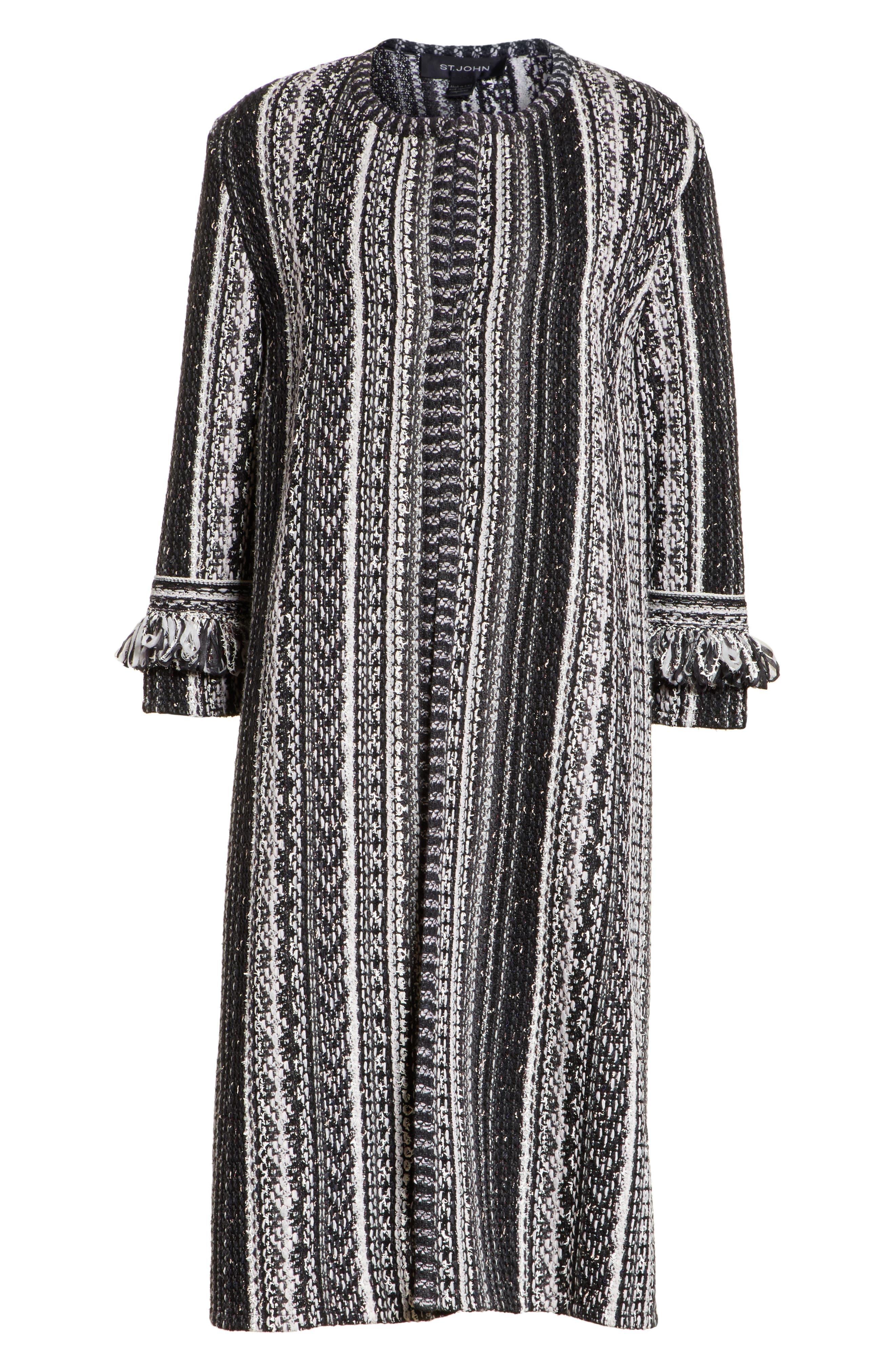 Fringe Ombré Stripe Tweed Knit Jacket,                             Alternate thumbnail 5, color,                             001