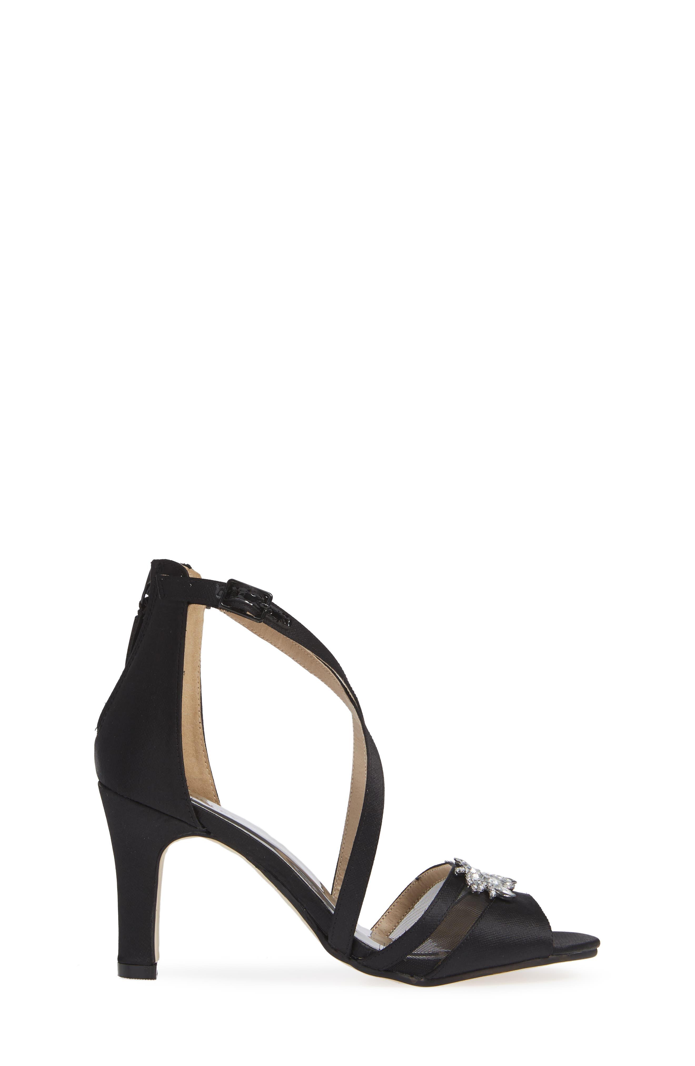 Badgley Mischka Kandall Hannah Embellished Cross Strap Sandal,                             Alternate thumbnail 3, color,                             BLACK SATIN