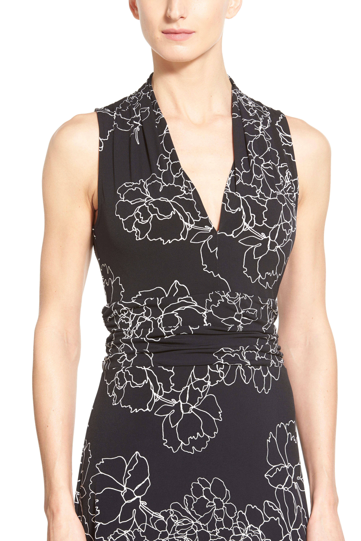 Floral Print Jersey Maxi Dress,                             Alternate thumbnail 4, color,                             001