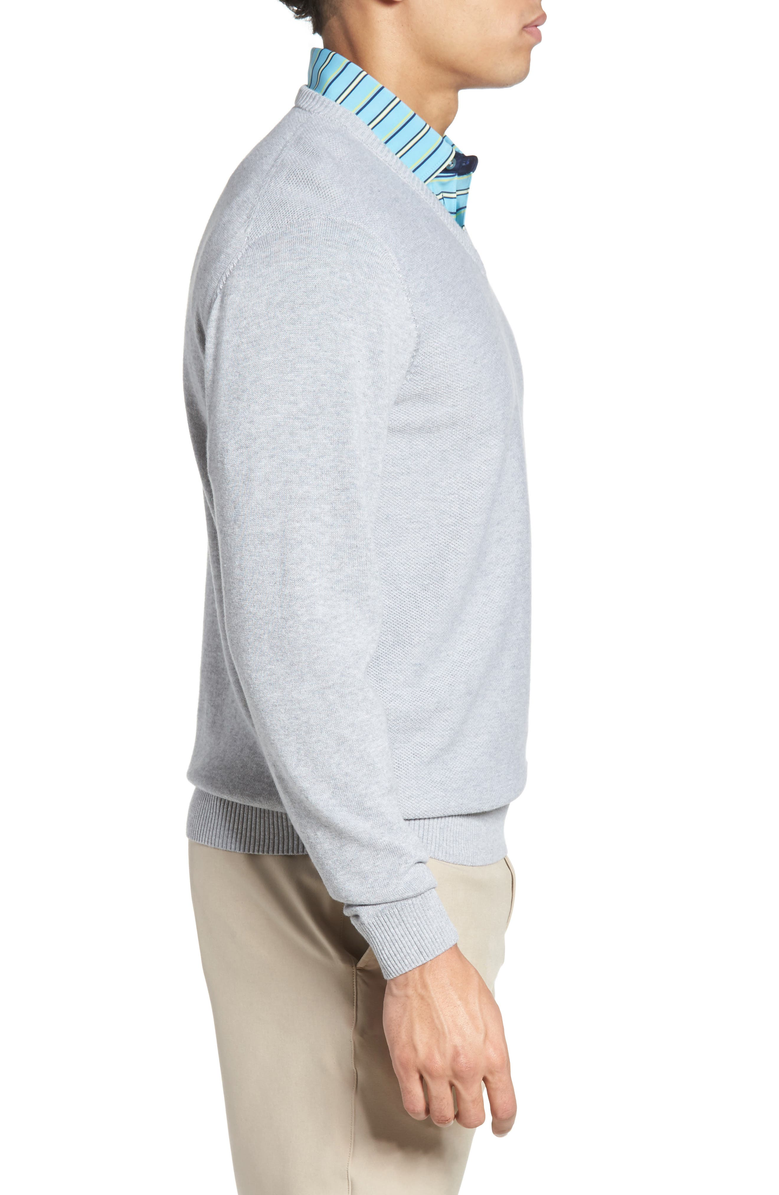 Piqué Jersey V-Neck Sweater,                             Alternate thumbnail 3, color,                             078