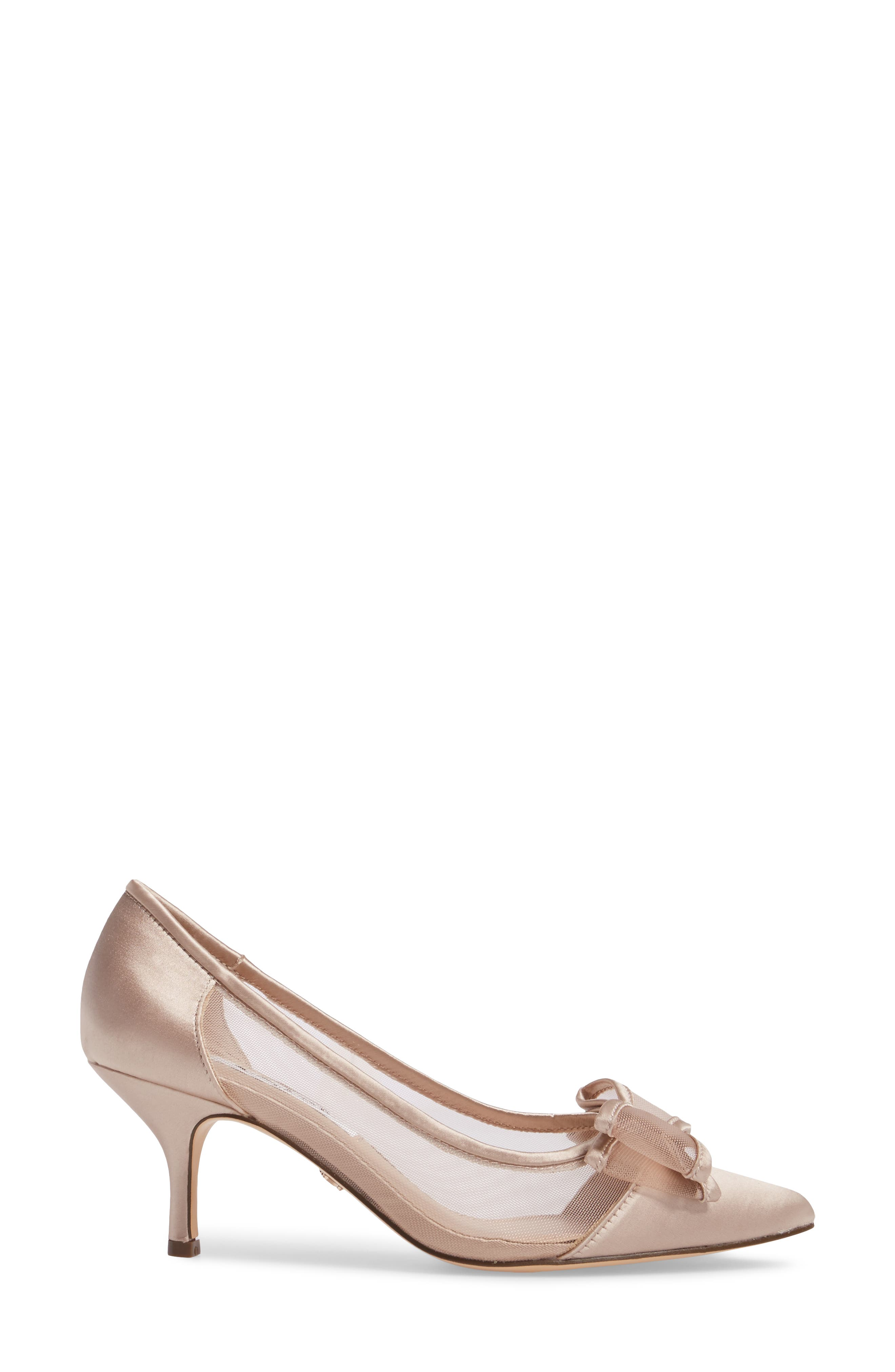 Bianca Pointy Toe Pump,                             Alternate thumbnail 3, color,                             CHAMPAGNE SATIN