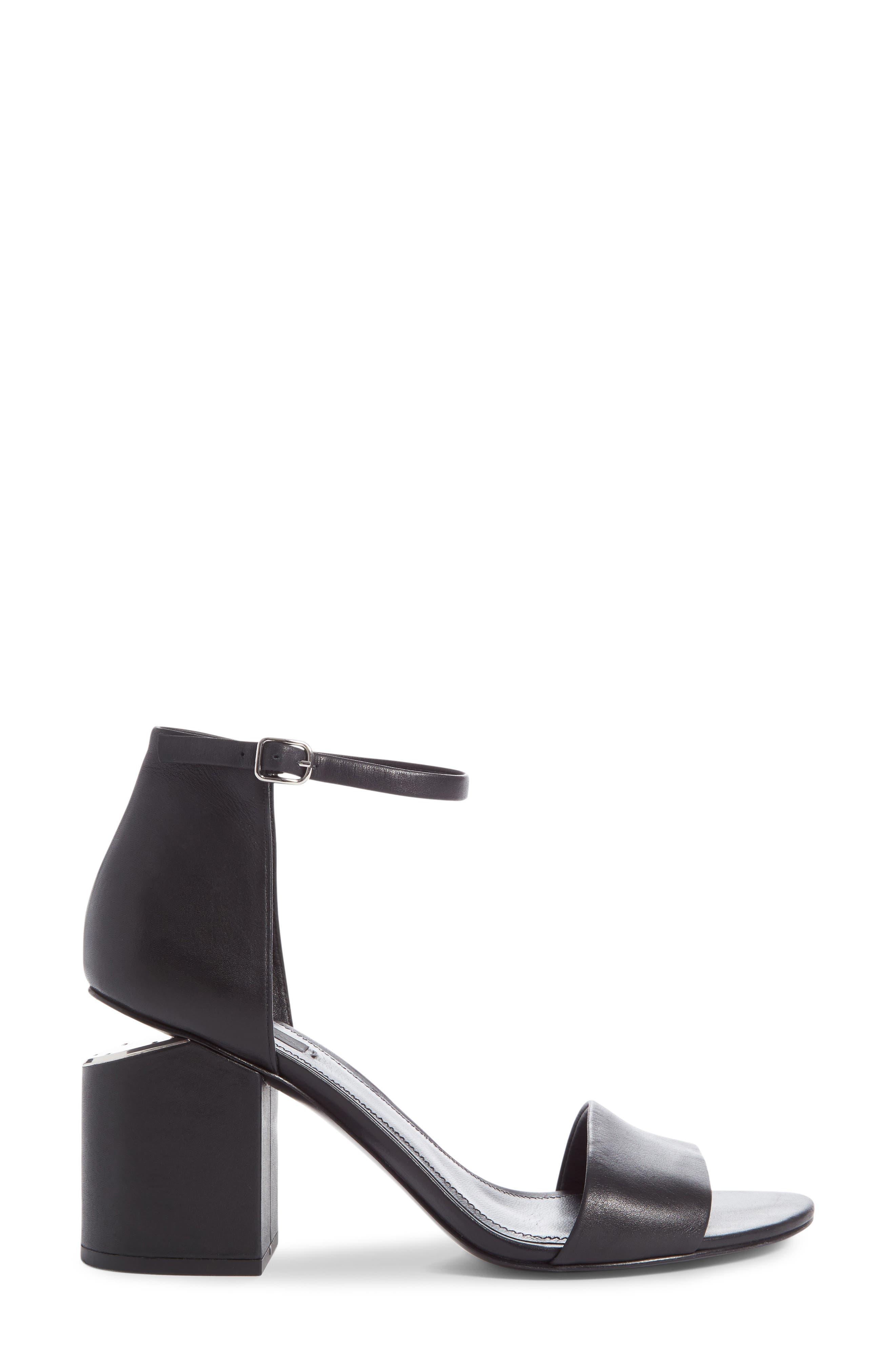 'Abby' Ankle Strap Sandal,                             Alternate thumbnail 5, color,                             BLACK