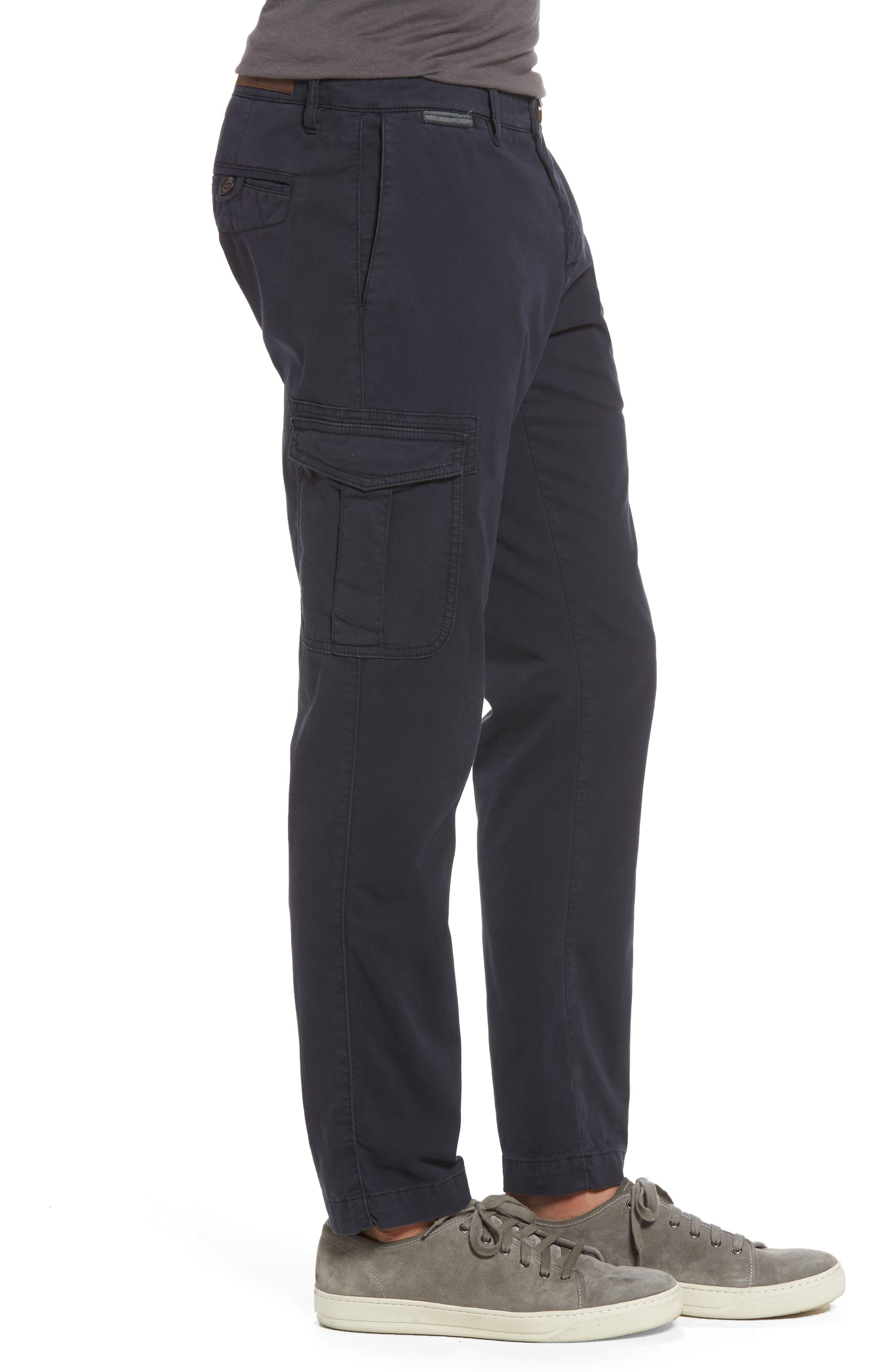 Stretch Cotton Cargo Pants,                             Alternate thumbnail 3, color,                             NAVY