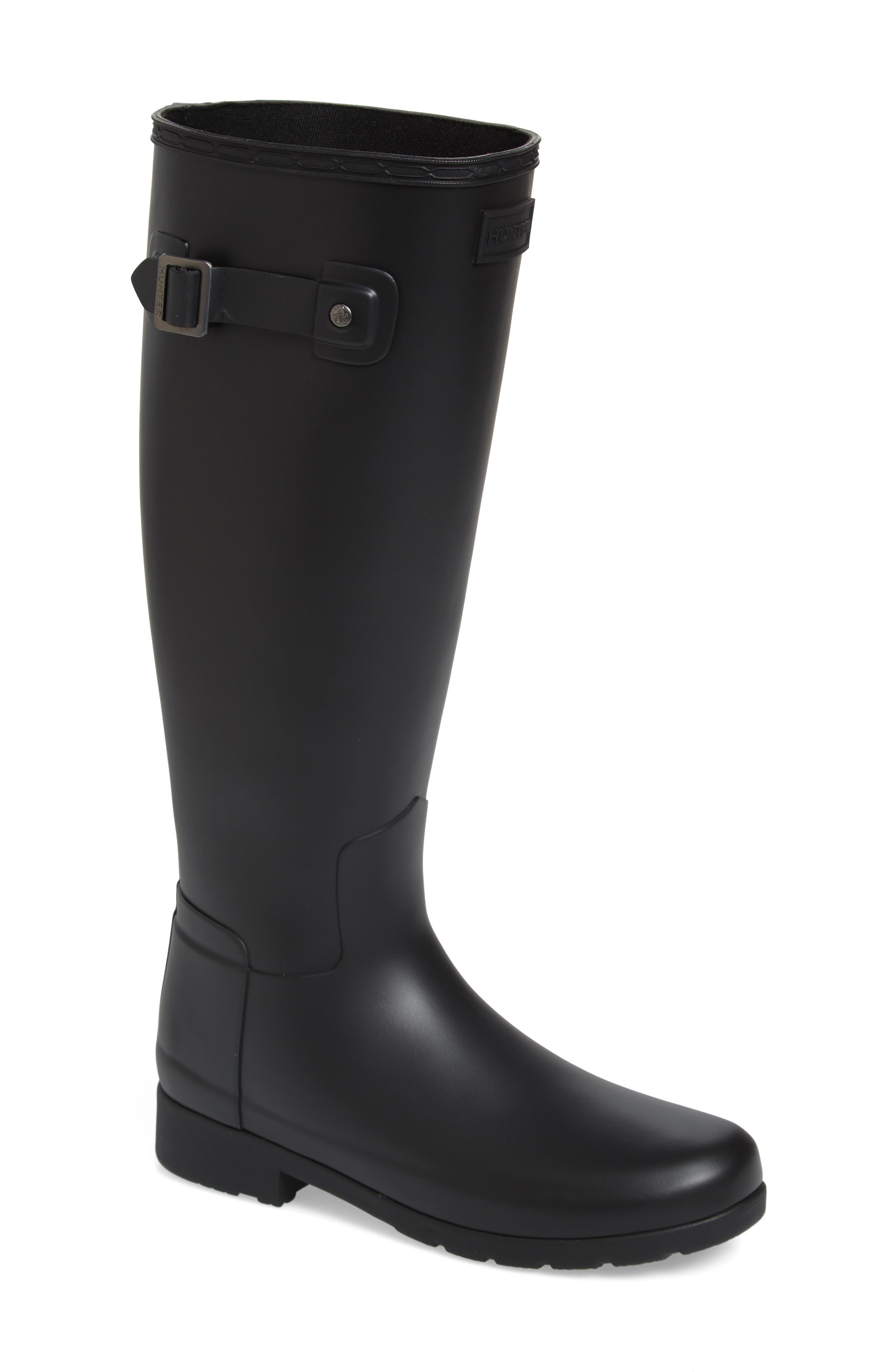 HUNTER,                             Original Refined Waterproof Rain Boot,                             Main thumbnail 1, color,                             BLACK REGULAR