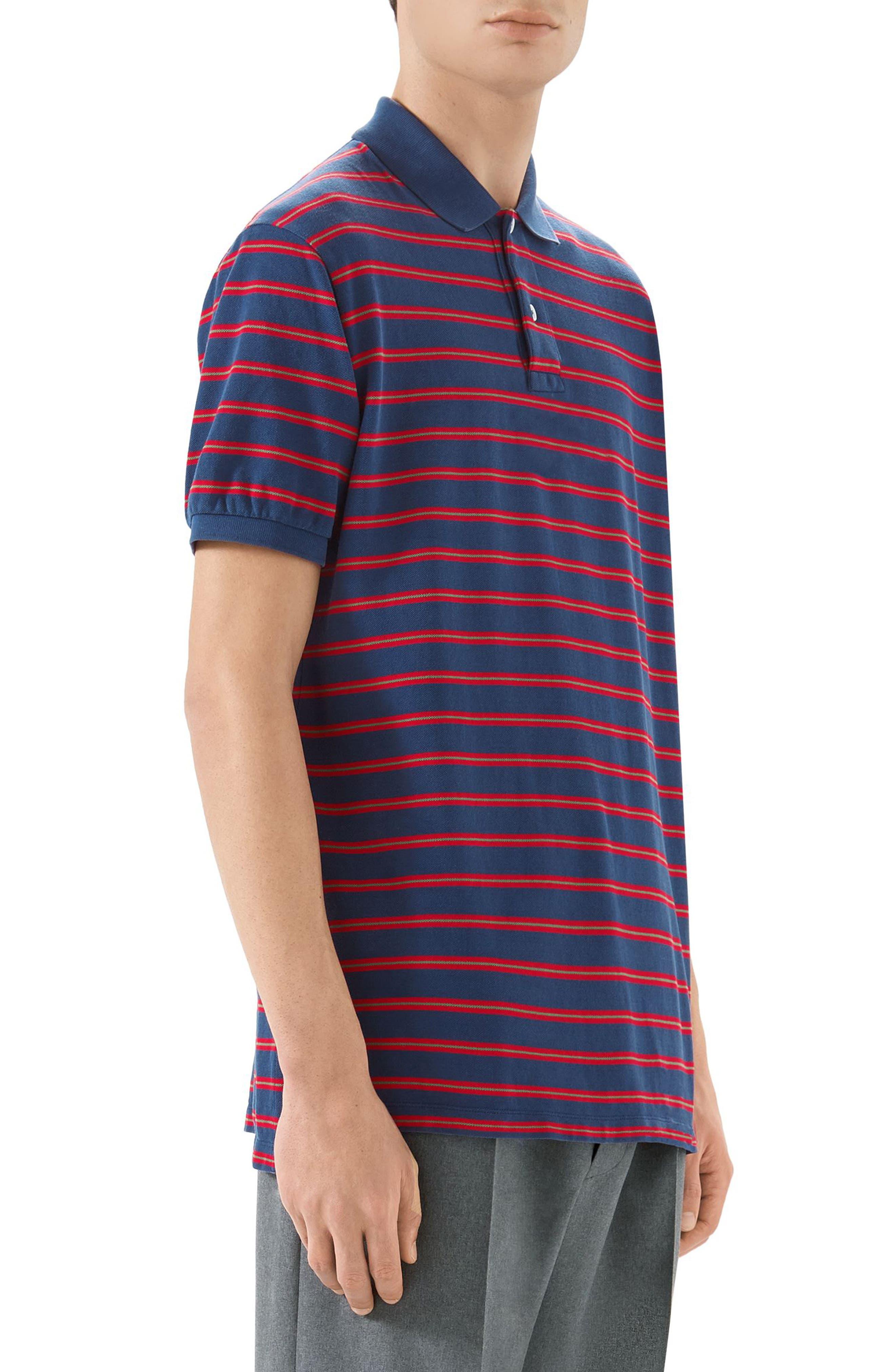 Oversized Stripe Polo,                             Alternate thumbnail 3, color,                             INCHIOSTRO/RED
