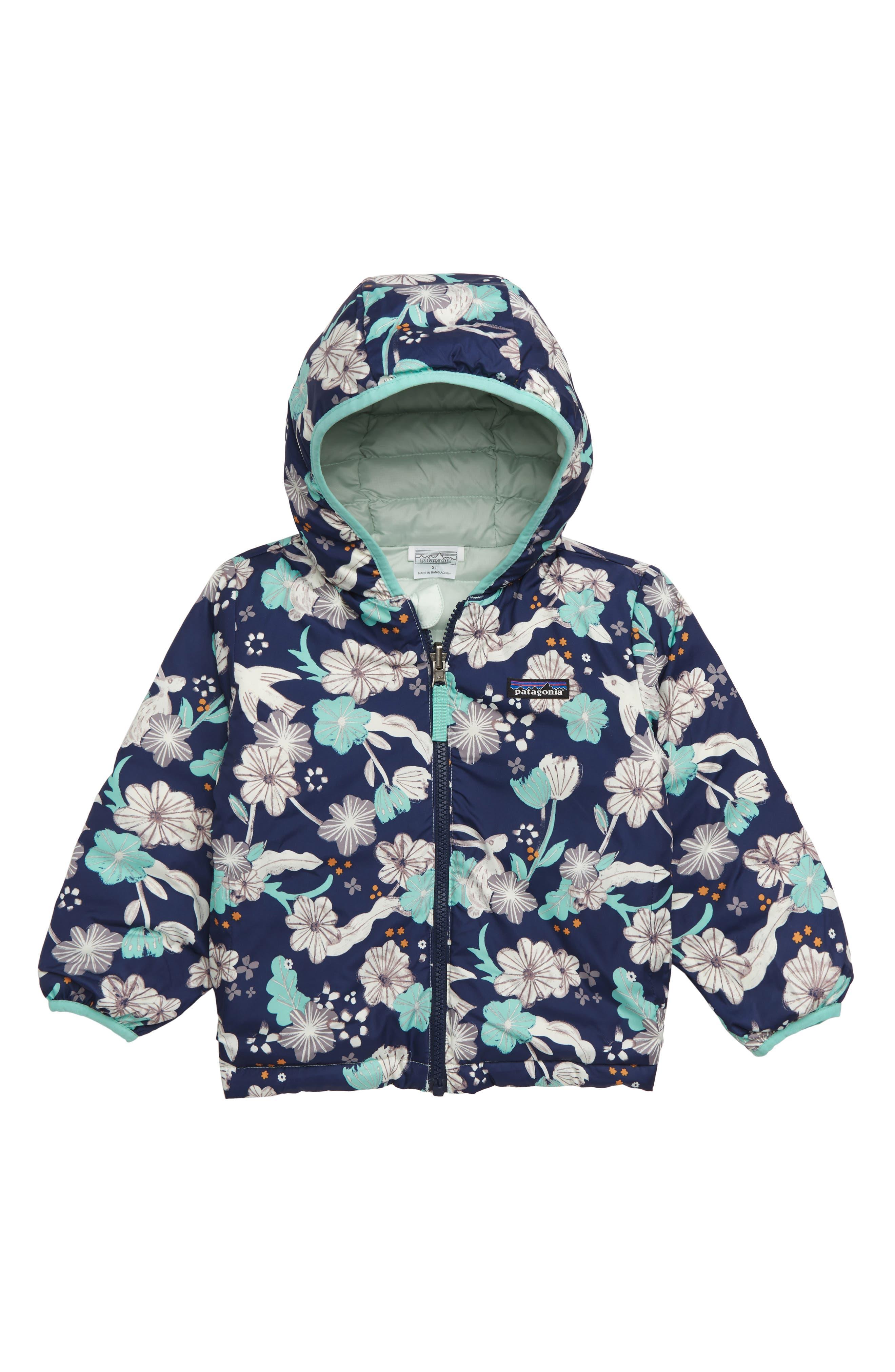 Reversible Down Sweater Hoodie,                         Main,                         color, BUNNIES BIRDS NAVY