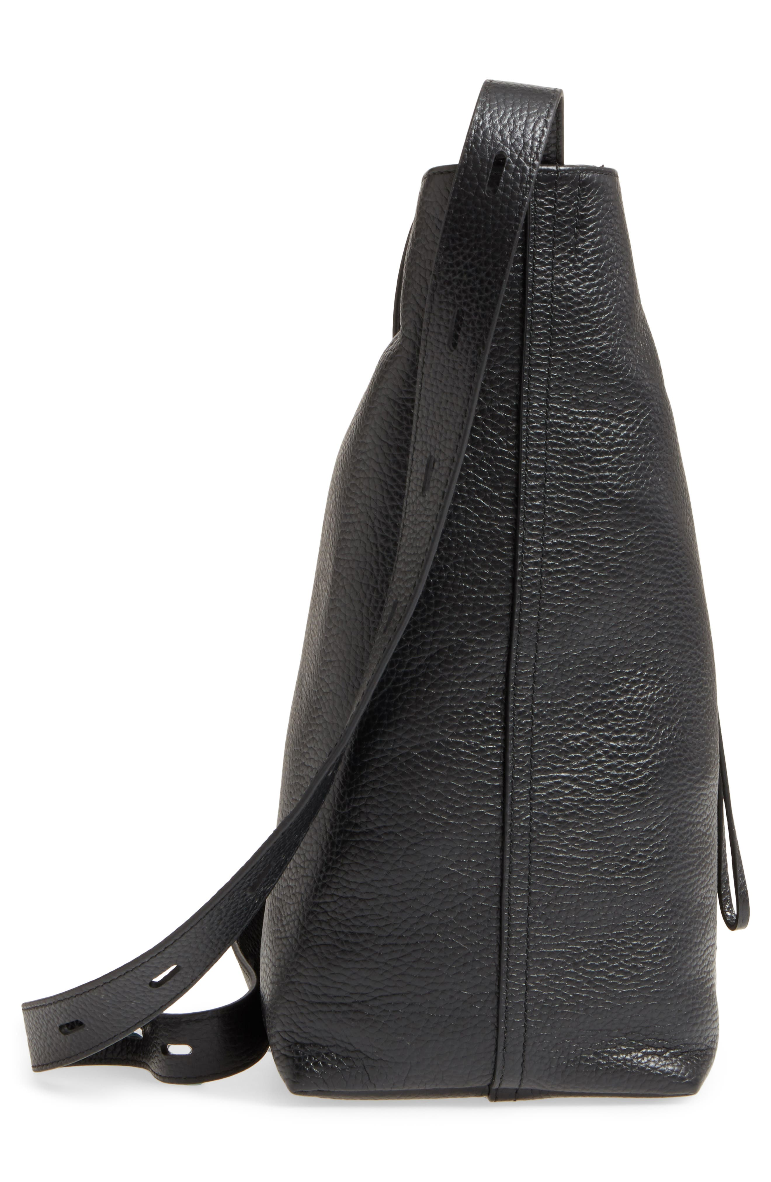 Pebbled Leather Panel Pail Convertible Leather Bucket Bag,                             Alternate thumbnail 5, color,                             001