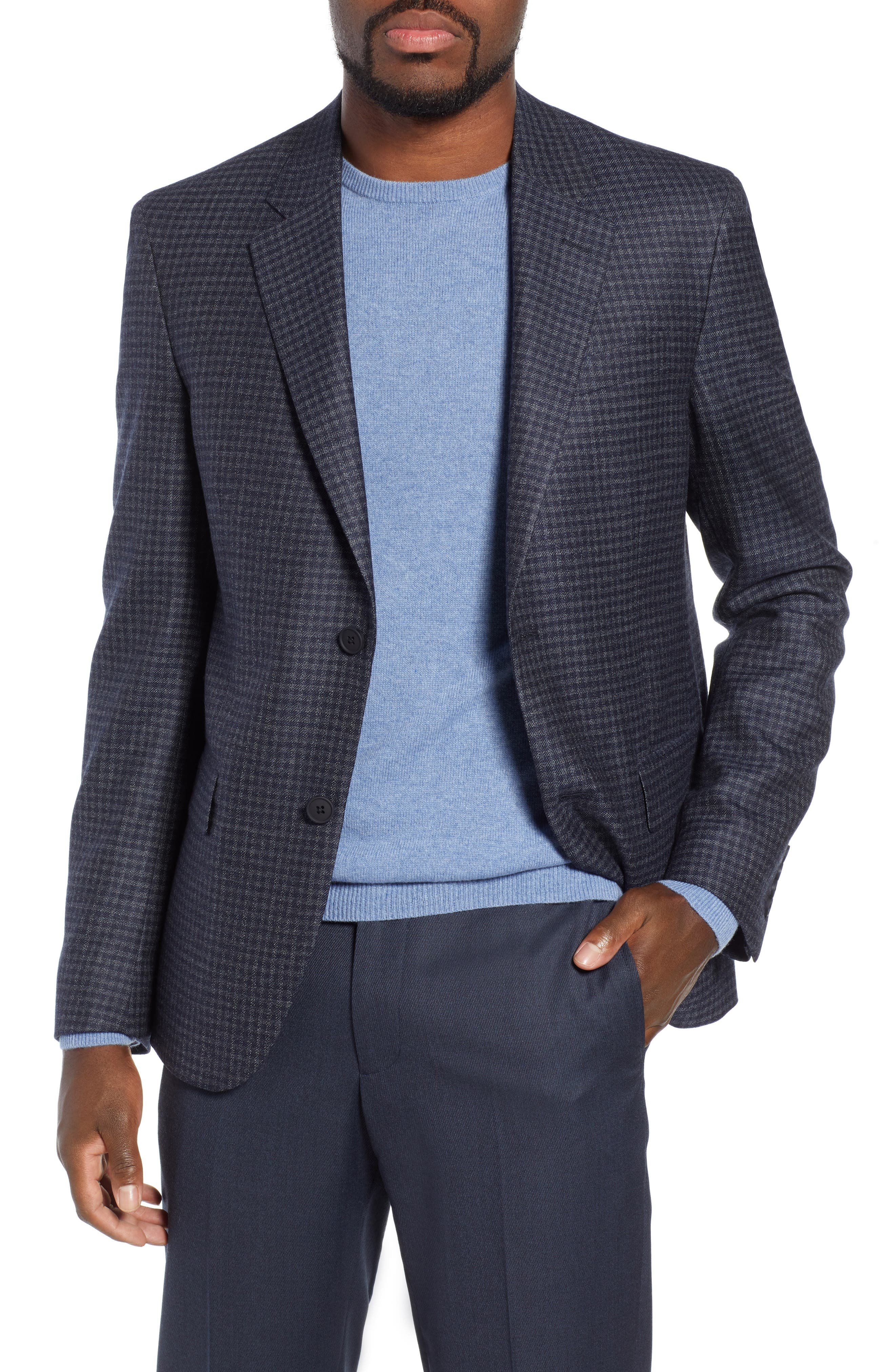 Trim Fit Check Sport Coat,                             Main thumbnail 1, color,                             410