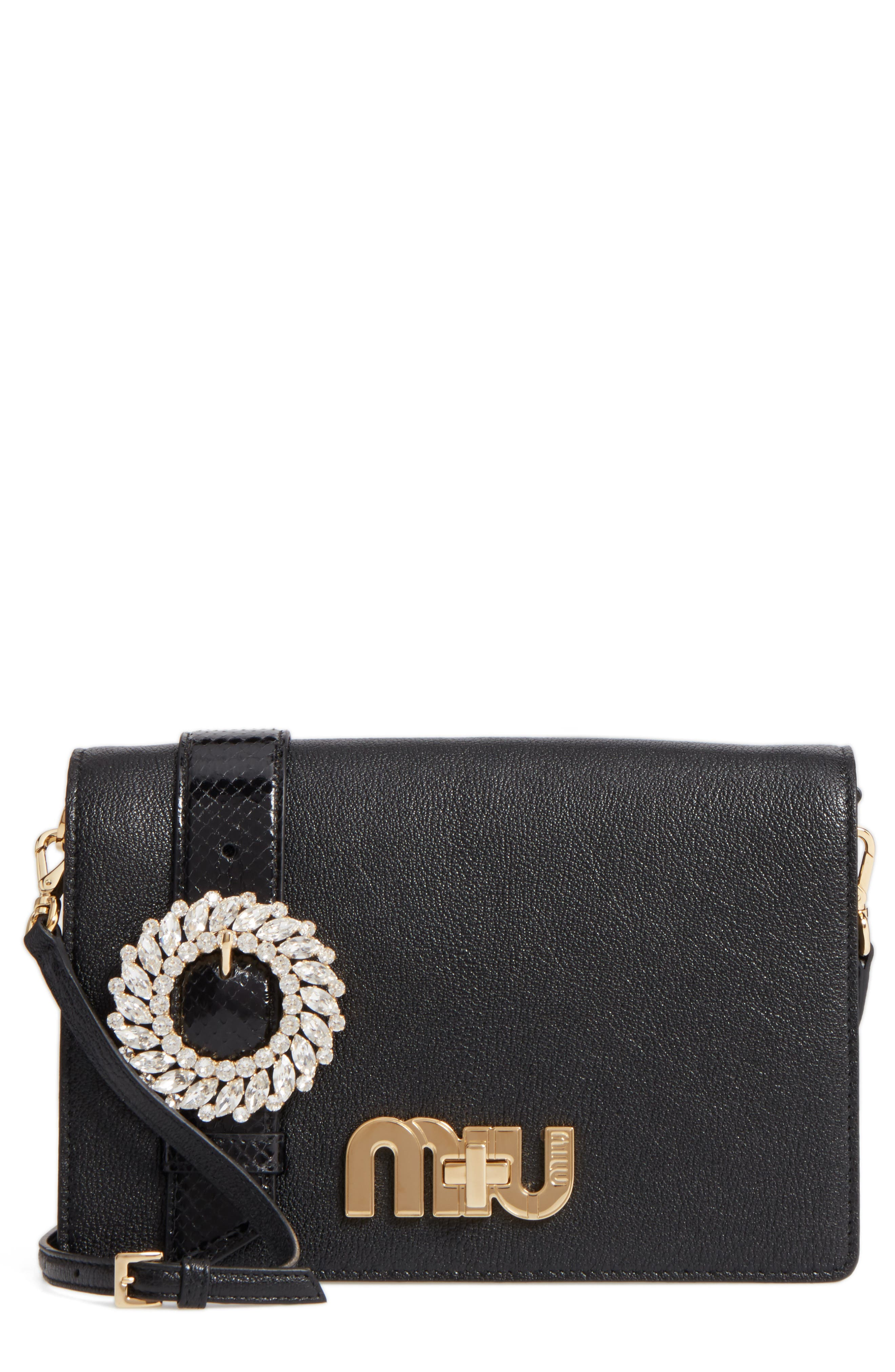 Madras Crystal Embellished Leather & Genuine Snakeskin Clutch,                             Main thumbnail 1, color,                             NERO