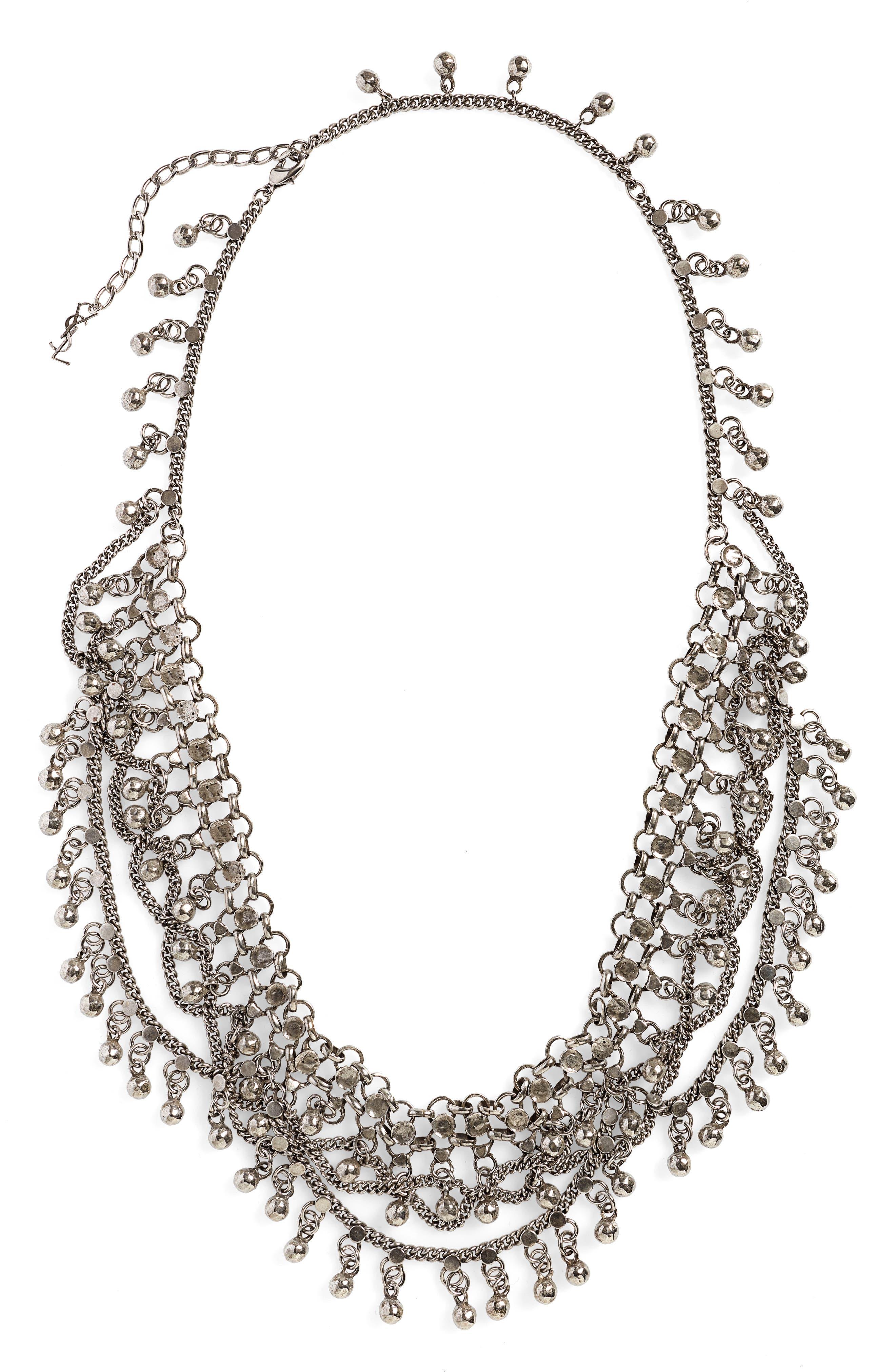 SAINT LAURENT Bell Bib Necklace, Main, color, ARGENT OXIDE
