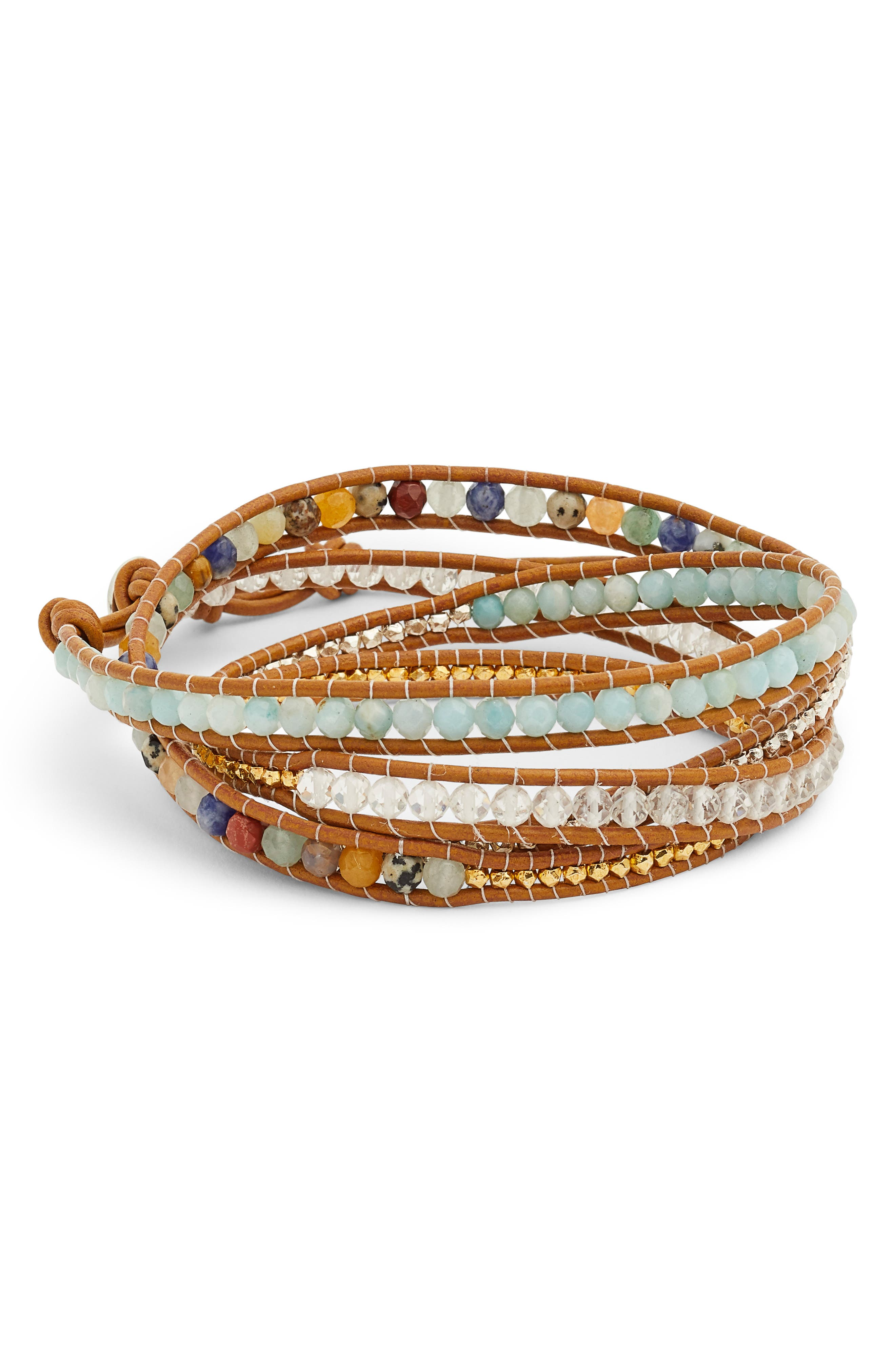 CHAN LUU Mixed Semiprecious Stone Leather Wrap Bracelet, Main, color, 200