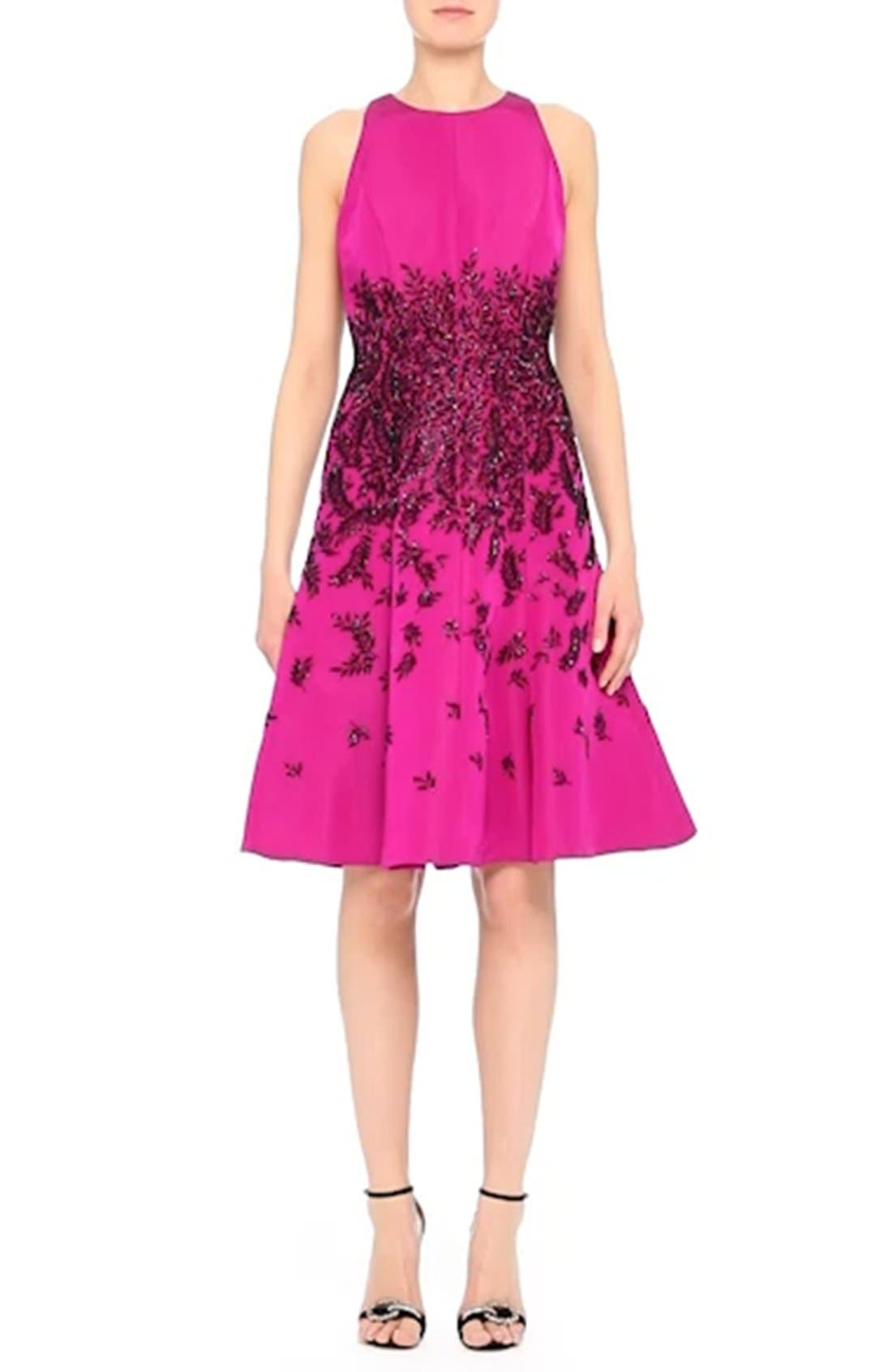 Beaded Fit & Flare Dress,                             Alternate thumbnail 7, color,                             671