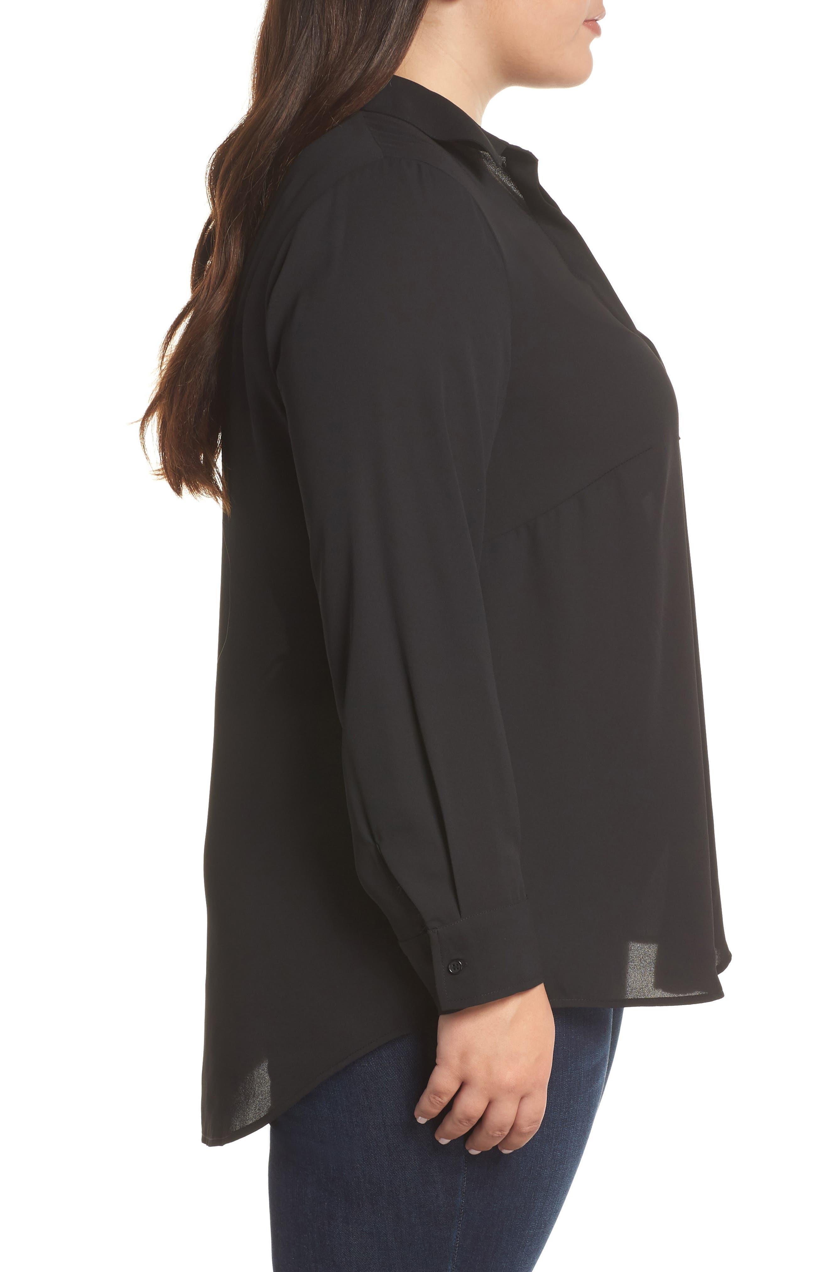Shirt Collar Blouse,                             Alternate thumbnail 3, color,                             BLACK