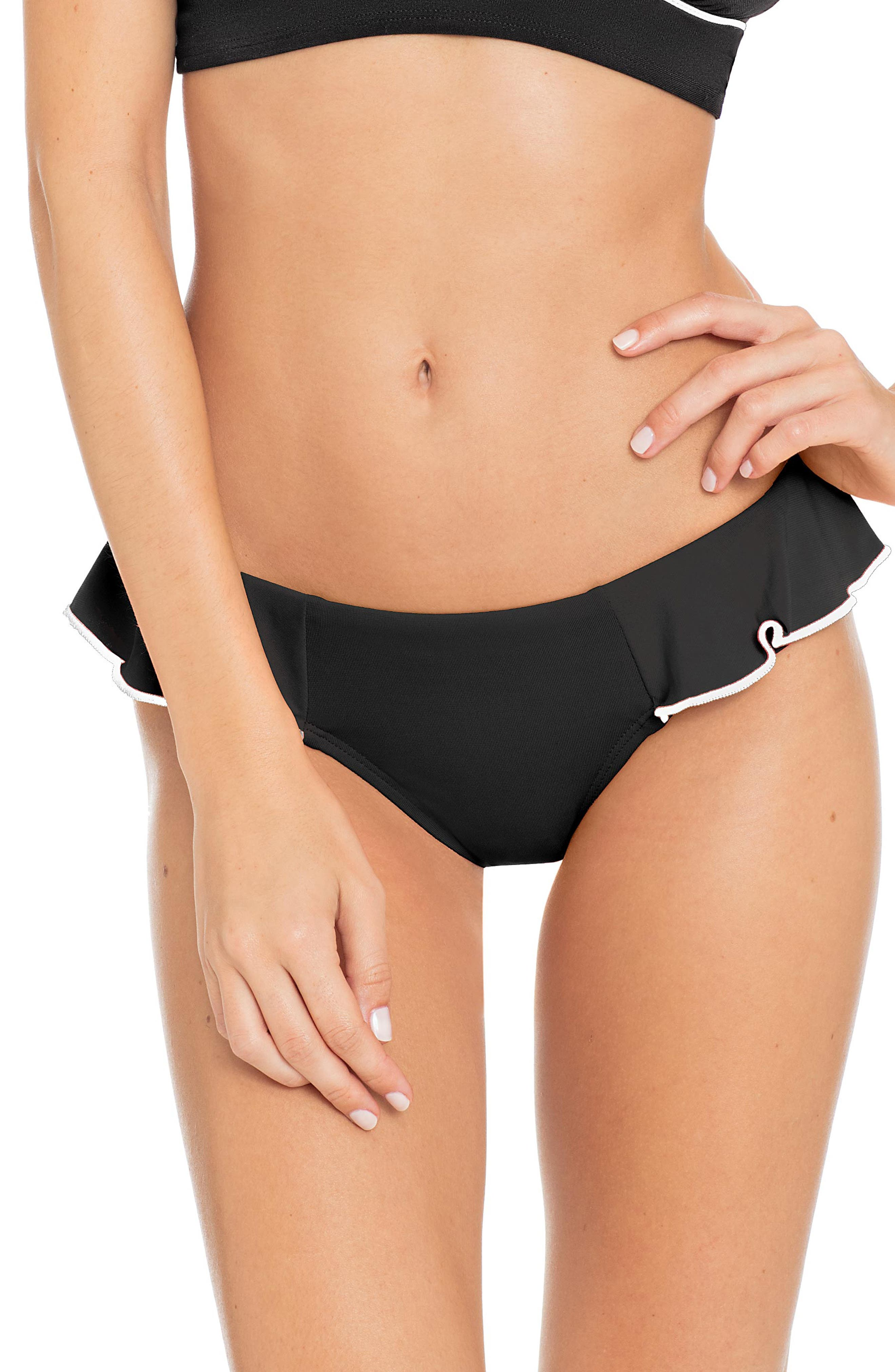 Malia Ruffle Bikini Bottoms,                         Main,                         color, BLACK/ IVORY