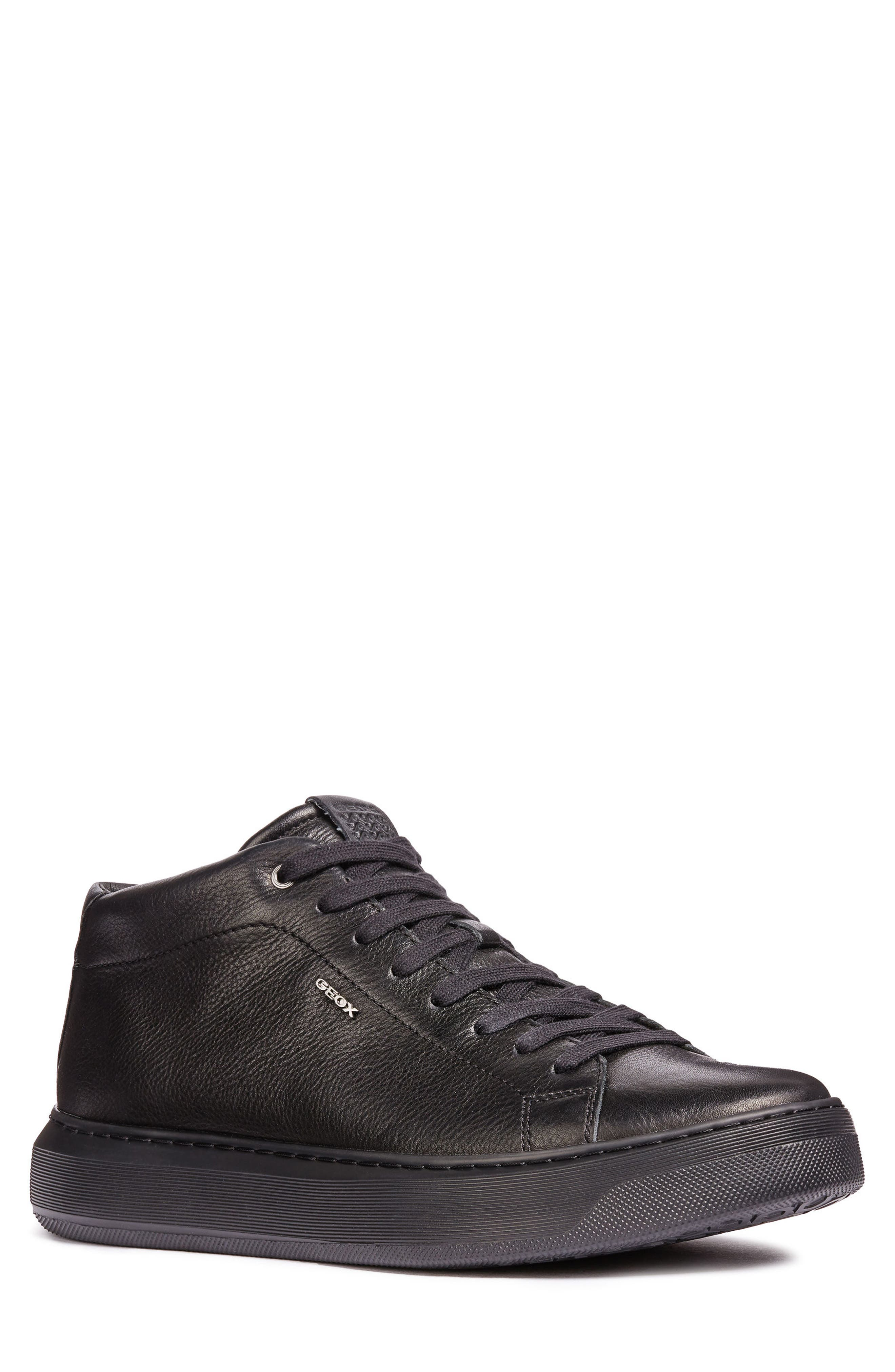 Deiven 1 High Top Sneaker,                             Main thumbnail 1, color,                             BLACK LEATHER