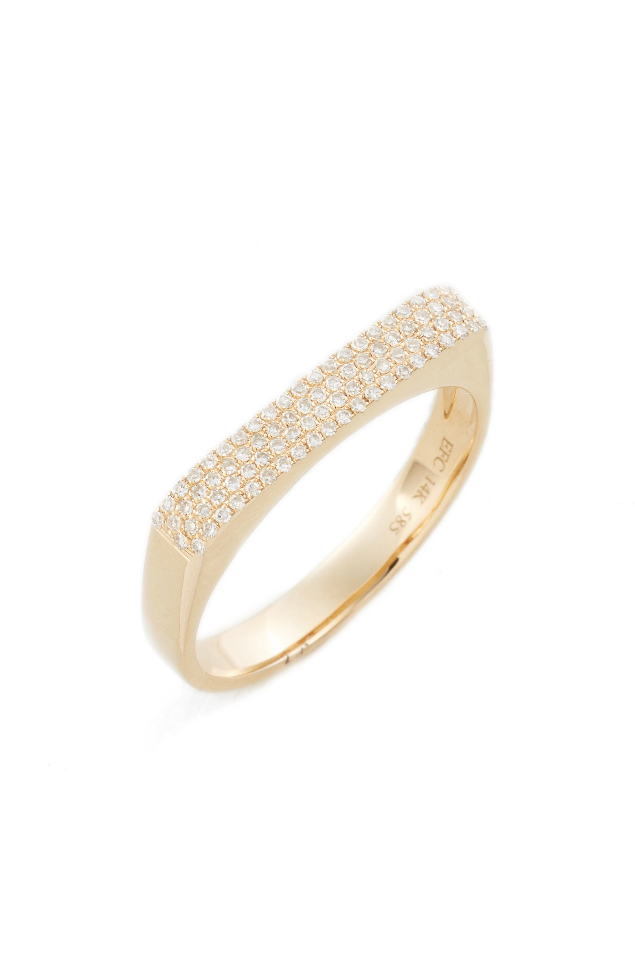 Jumbo Diamond Bar Ring in Yellow Gold