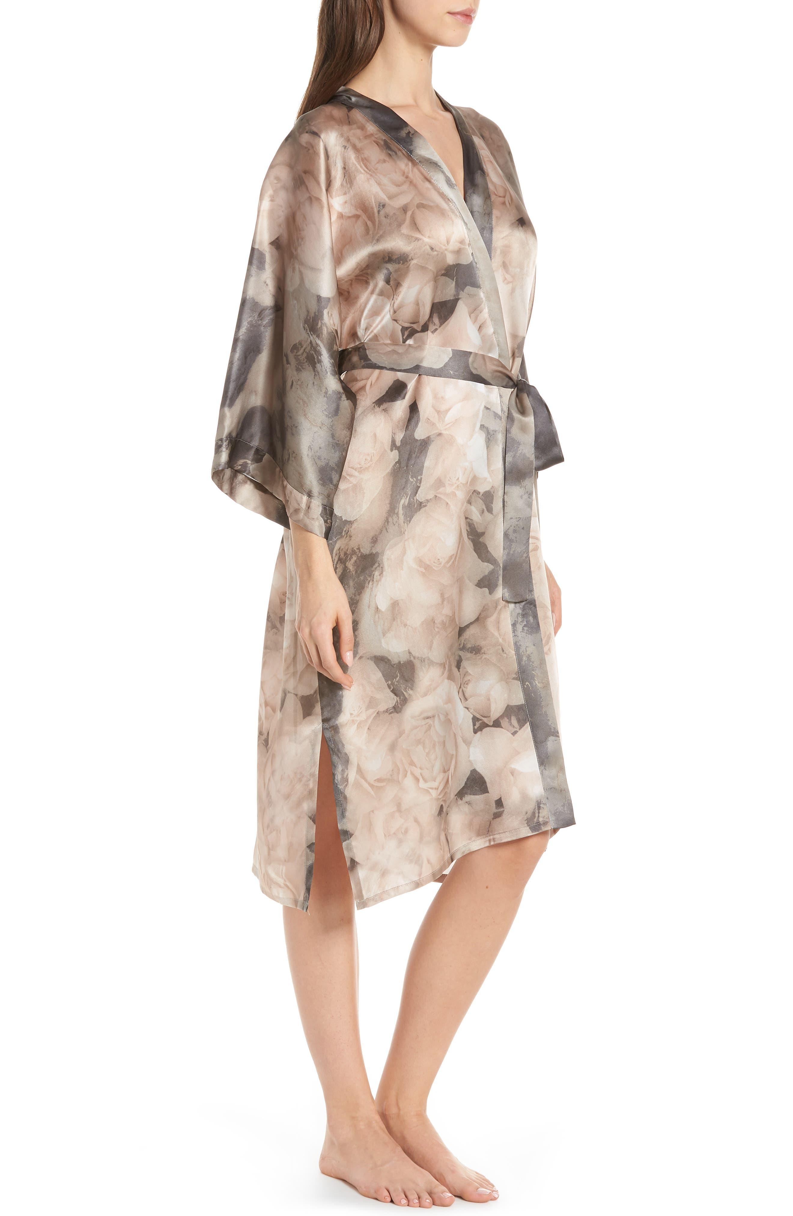 SAMANTHA CHANG,                             Silk Kimono,                             Alternate thumbnail 3, color,                             TENDER ROSE PRINT