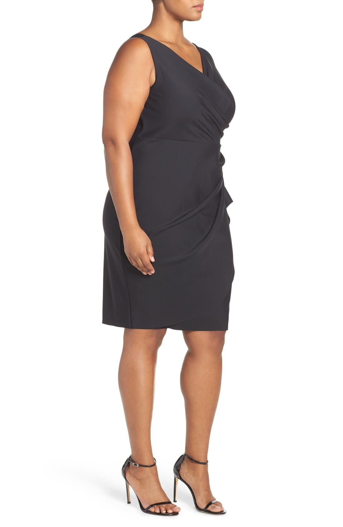Embellished Surplice Sheath Dress,                             Alternate thumbnail 3, color,                             001
