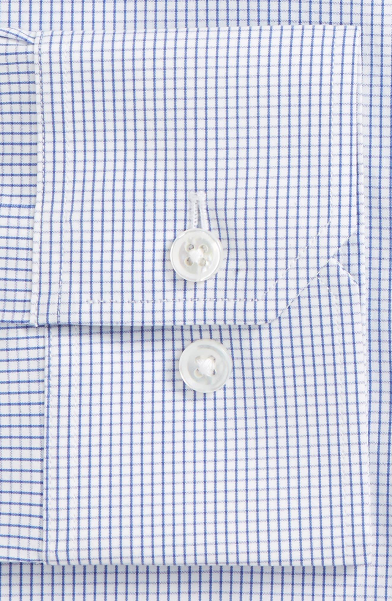 Jetsetter Slim Fit Stretch Check Dress Shirt,                             Alternate thumbnail 6, color,                             NAVY MINI CHECK