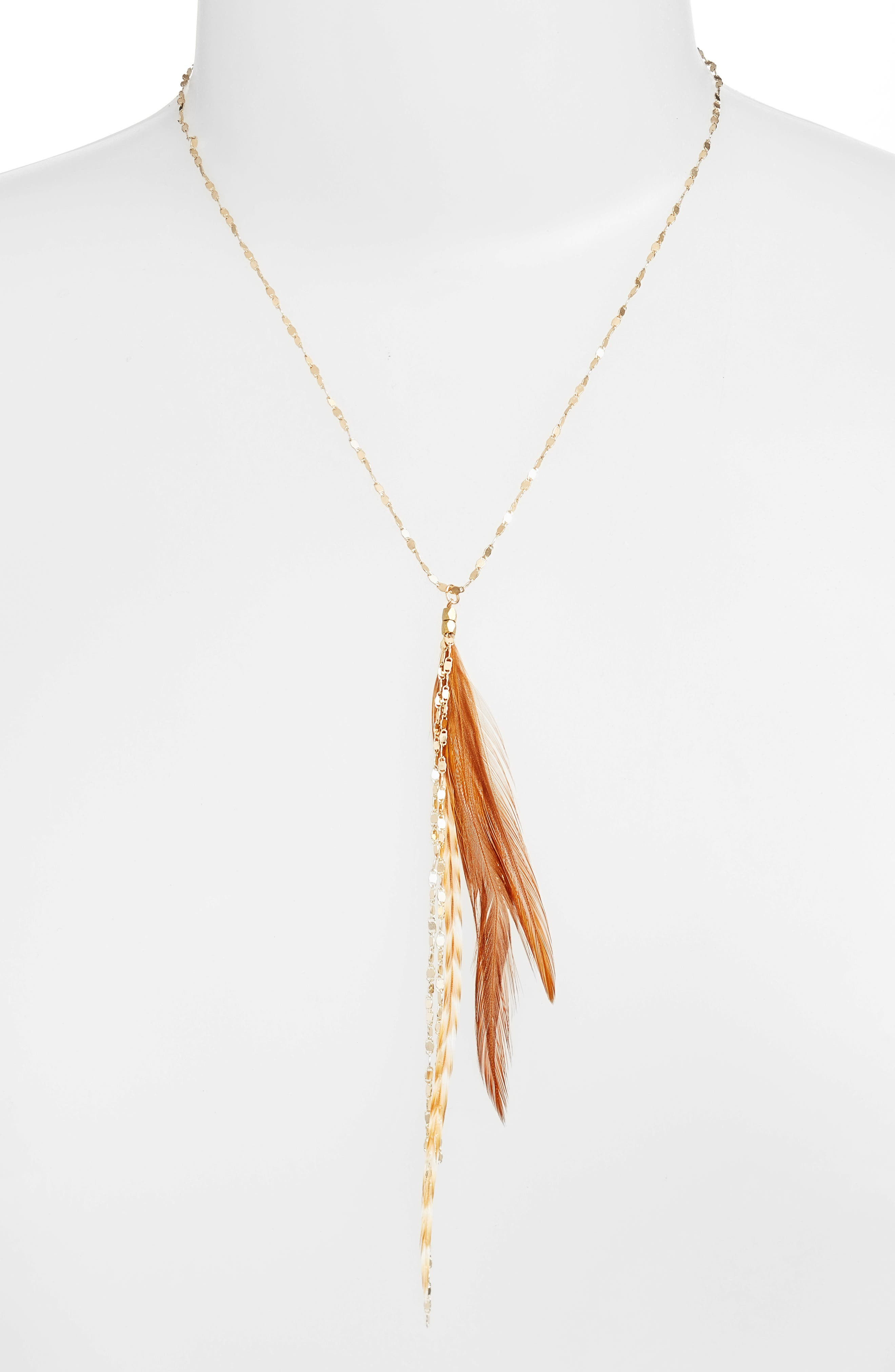 Glistening Feather Y Necklace,                             Alternate thumbnail 5, color,