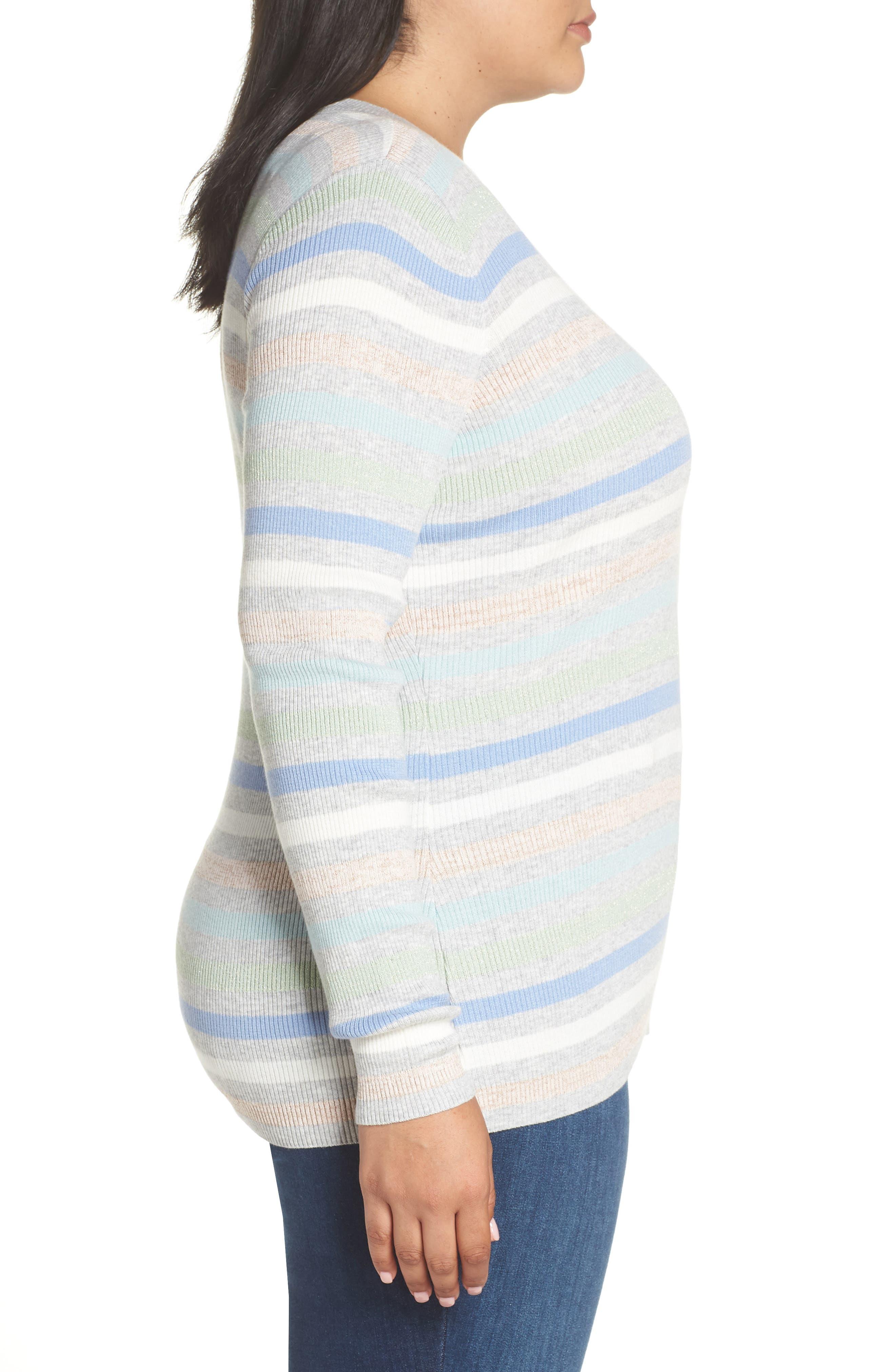 x Atlantic-Pacific Shimmer Stripe Sweater,                             Alternate thumbnail 3, color,                             GREY MULTI STRIPE