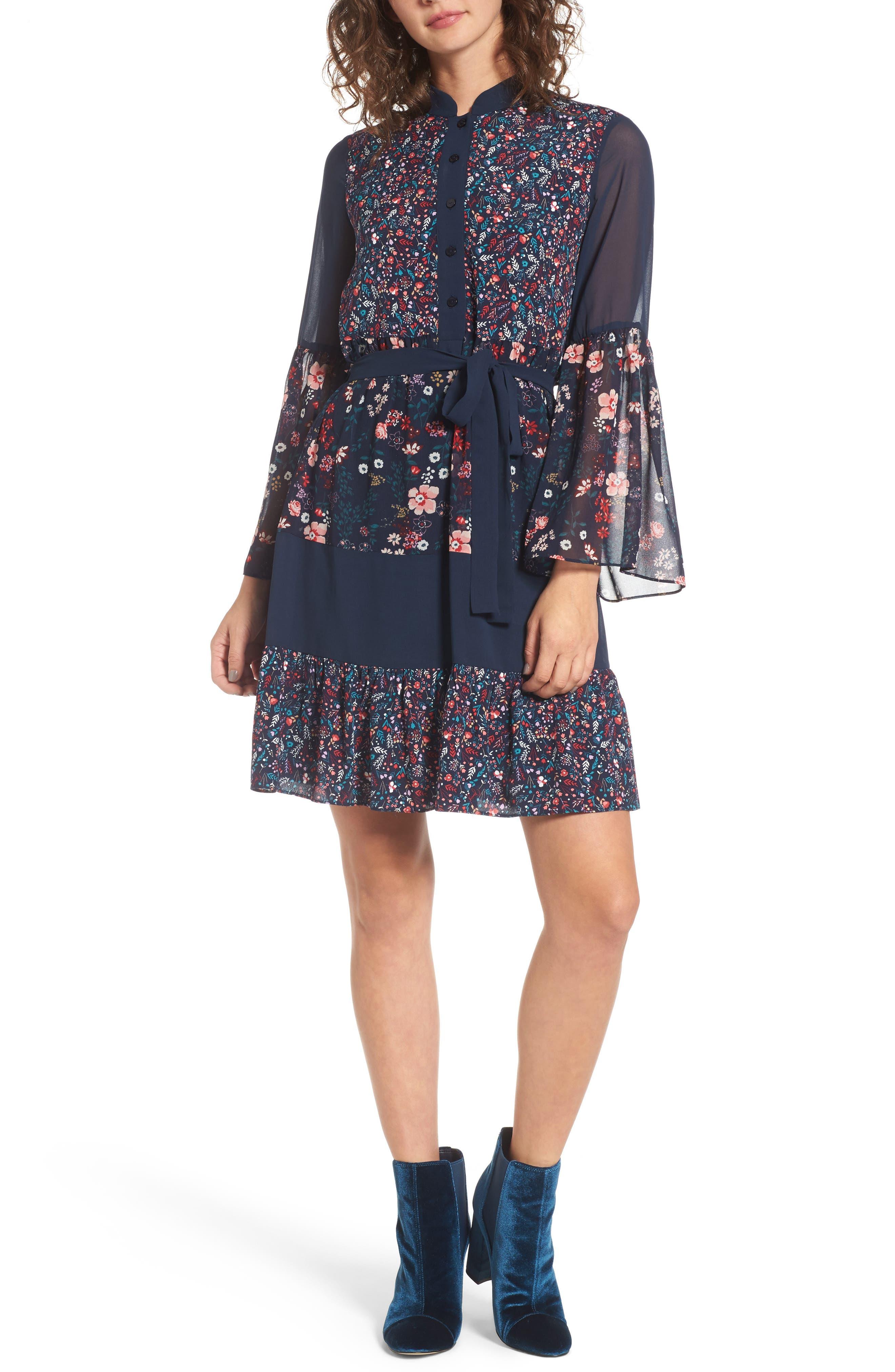 Caprice Floral Mix Shirtdress,                             Main thumbnail 1, color,                             497