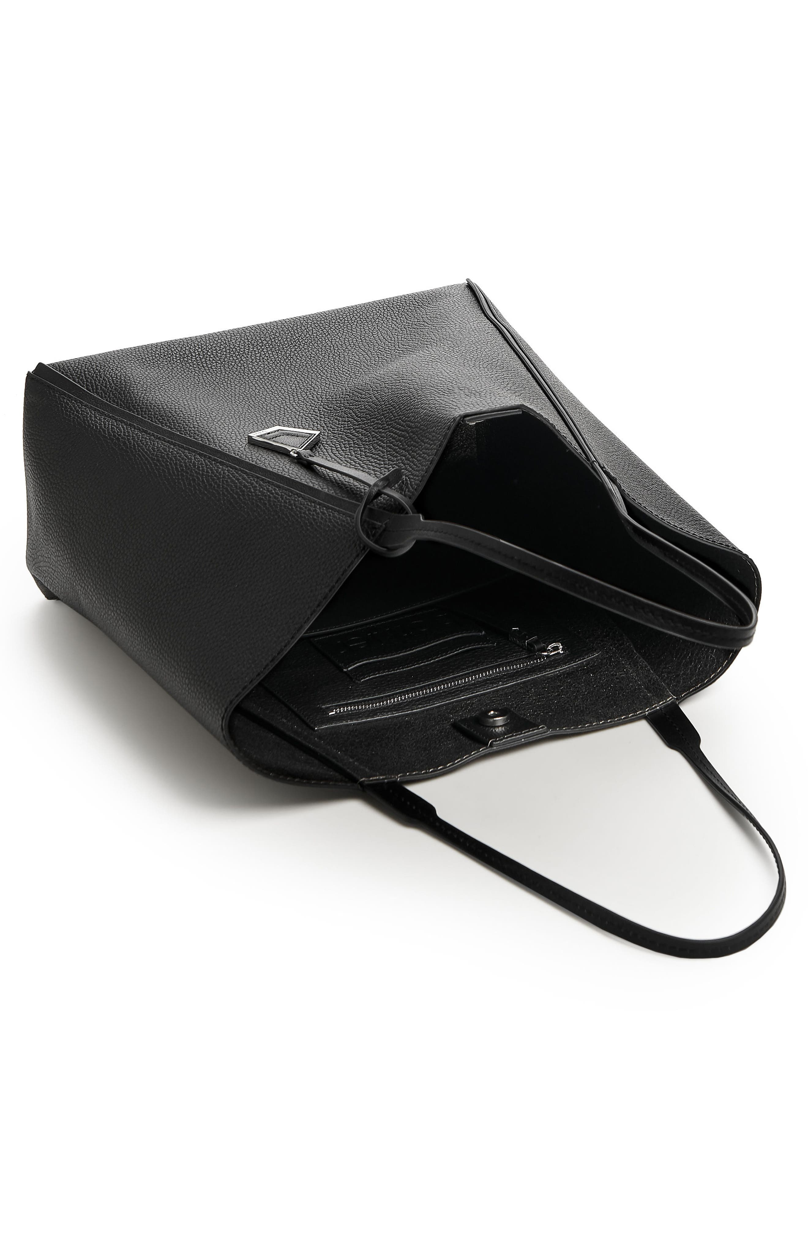 Trinity Calfskin Leather Tote,                             Alternate thumbnail 2, color,                             BLACK