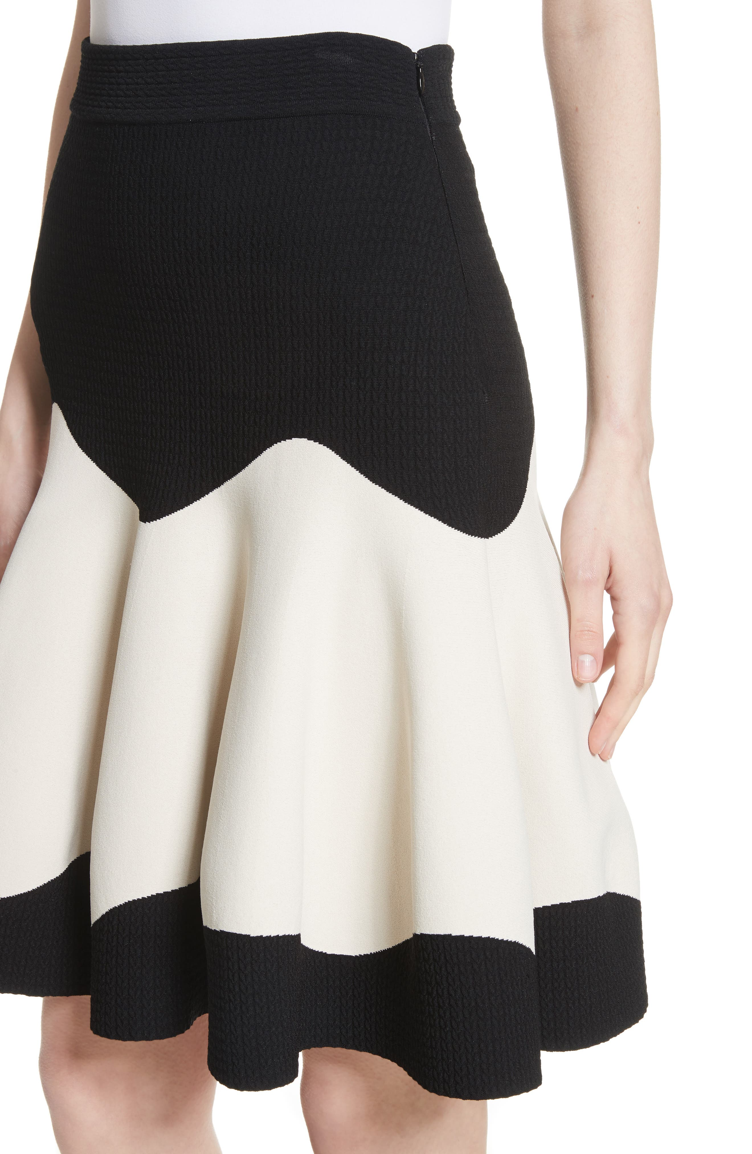 Bicolor Contrast Jacquard Flounce Skirt,                             Alternate thumbnail 4, color,                             900