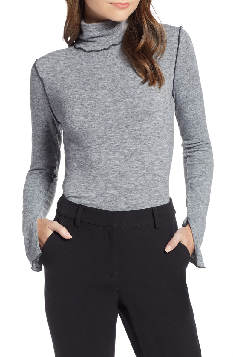 Something Navy Contrast Stitch Mock Neck Top (Nordstrom Exclusive) | Nordstrom