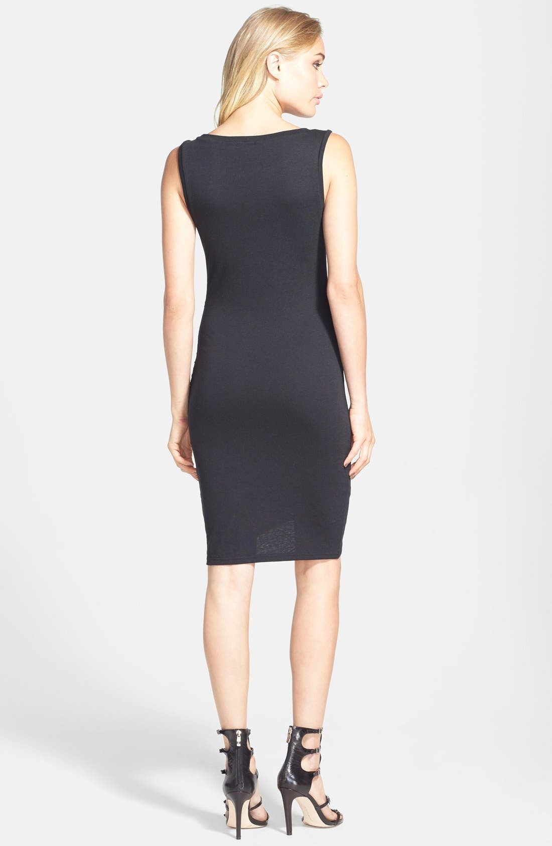 Ruched Body-Con Tank Dress,                             Alternate thumbnail 9, color,                             BLACK
