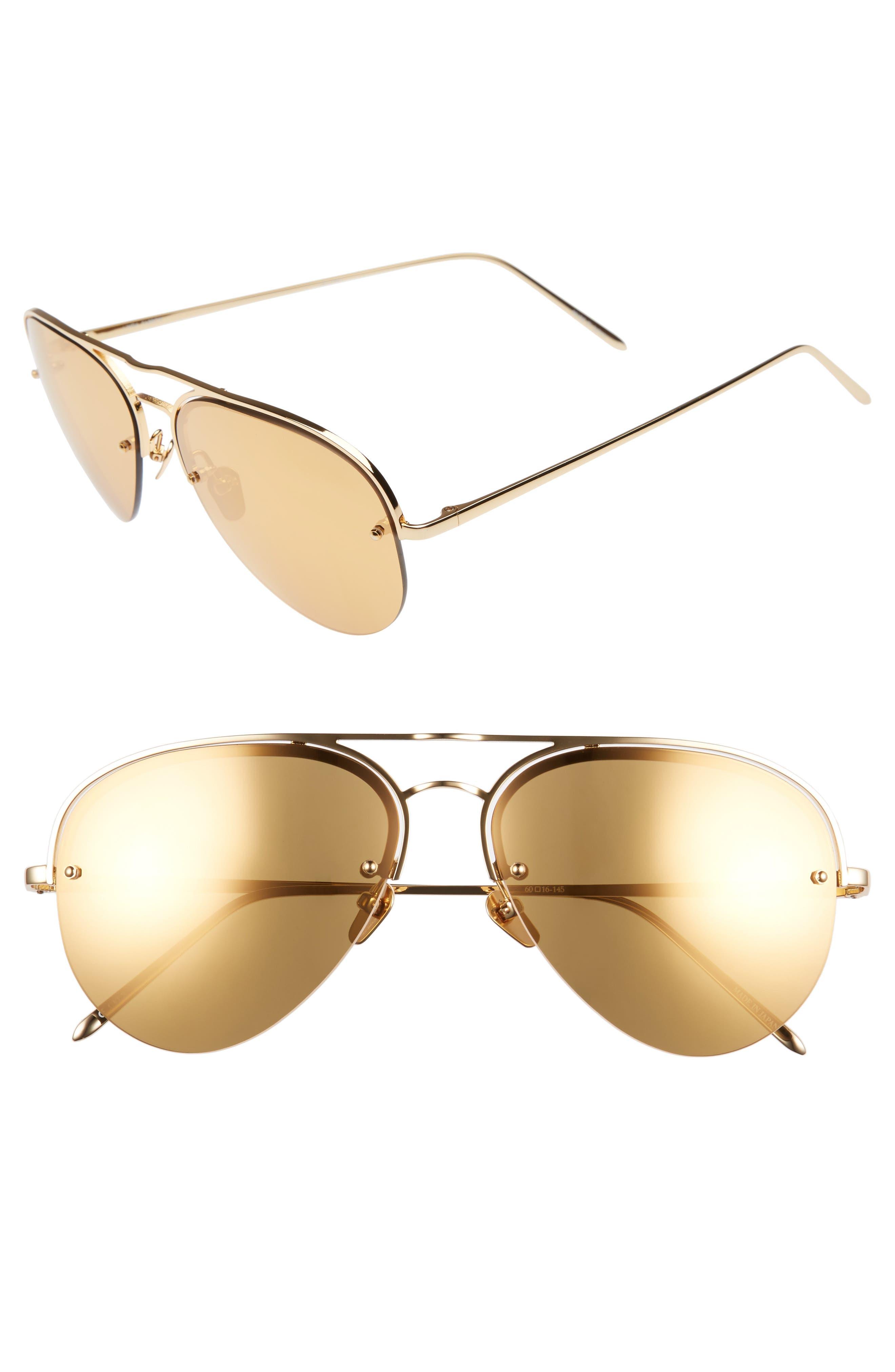 60mm Mirrored 22 Karat Gold Aviator Sunglasses,                             Main thumbnail 1, color,                             YELLOW GOLD/ GOLD