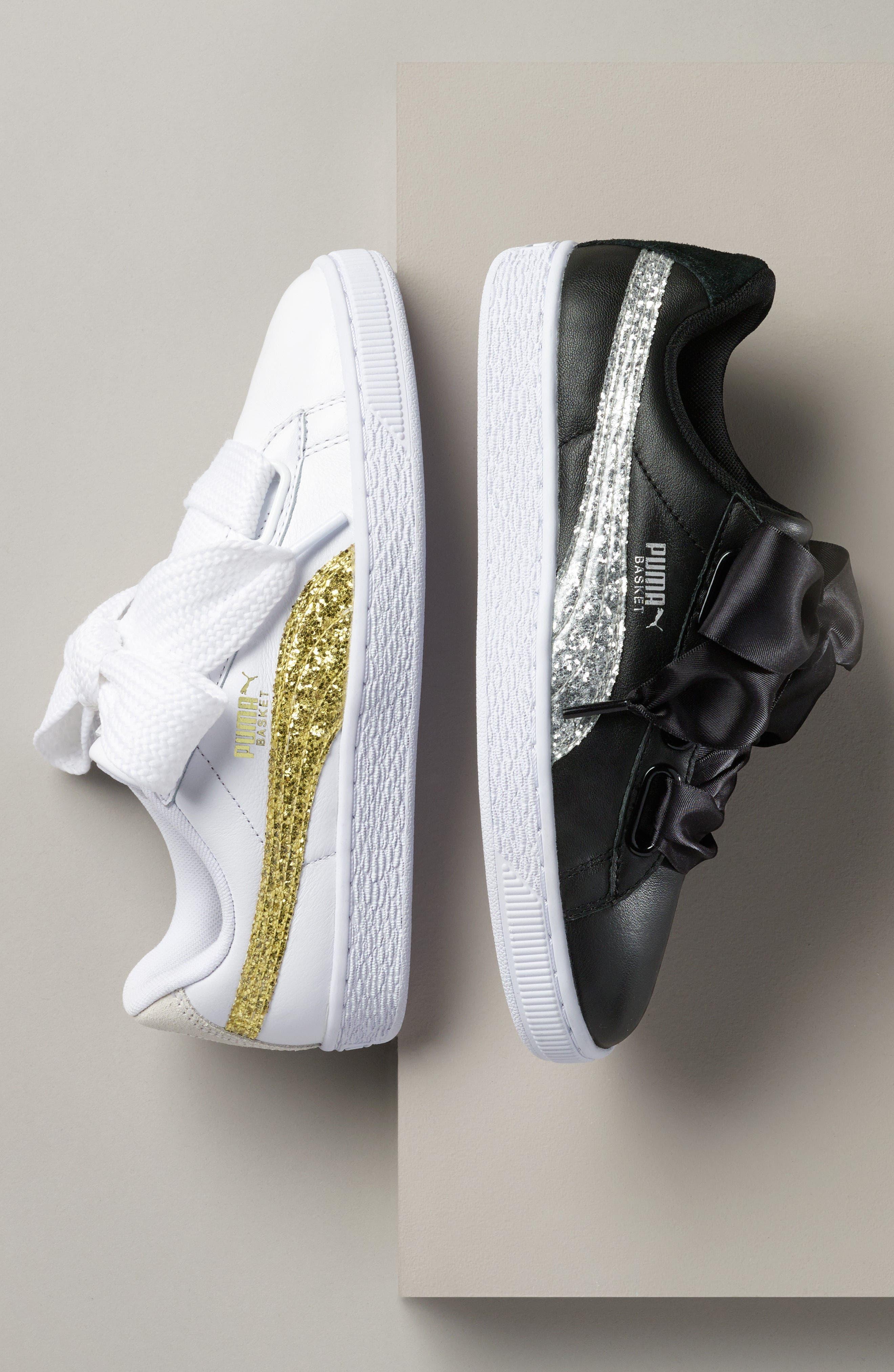 Basket Heart Sneaker,                             Alternate thumbnail 8, color,                             WHITE/ ROSE GOLD LEATHER