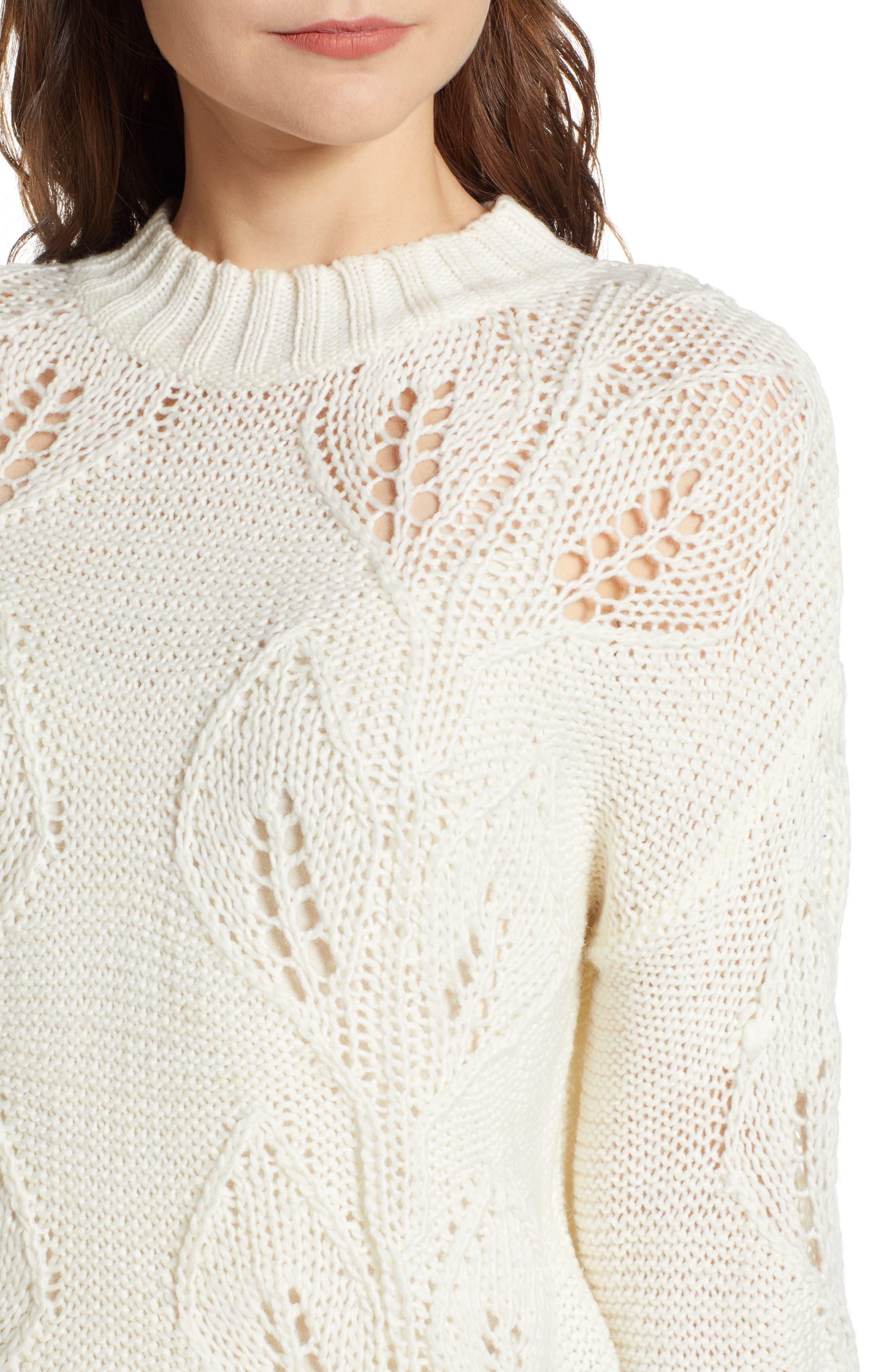 Bishop + Young Botanical Sweater,                             Alternate thumbnail 4, color,                             CREAM