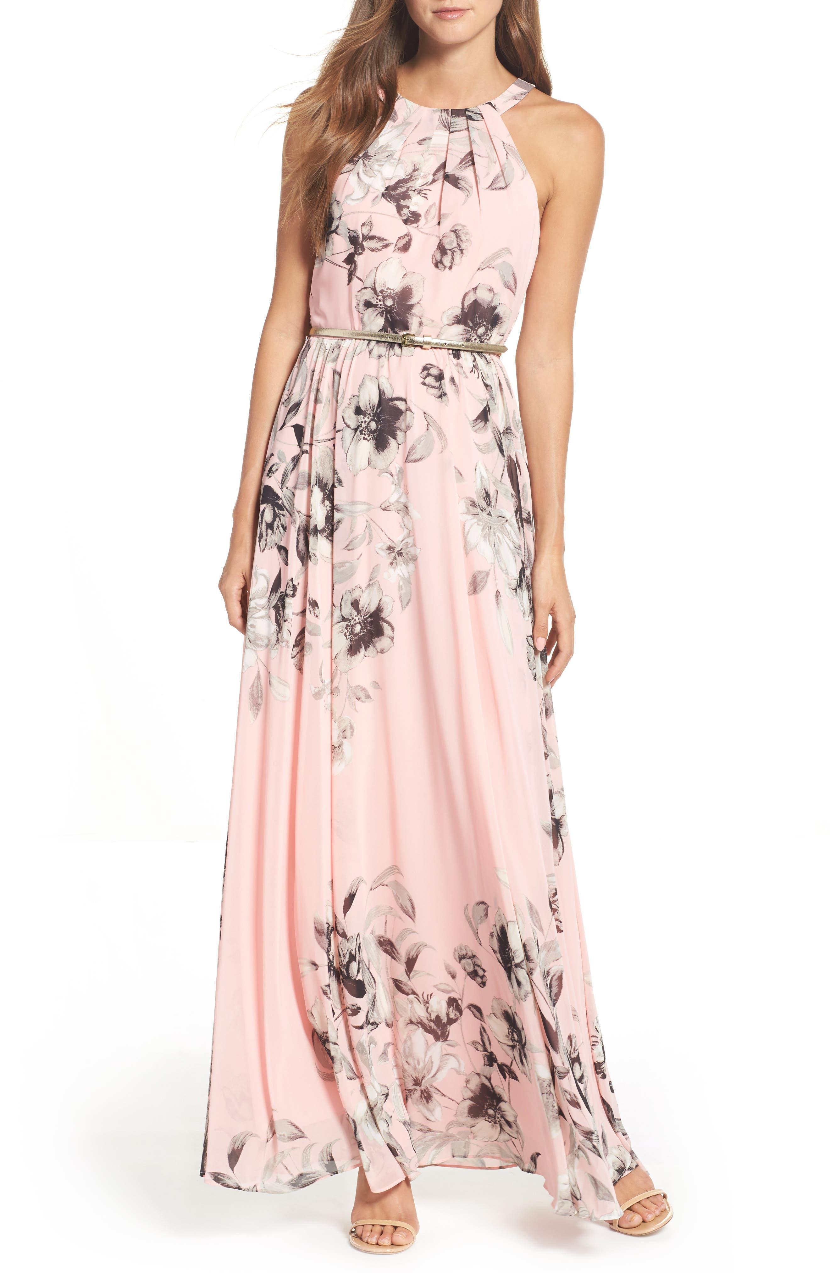 Belted Chiffon Maxi Dress,                             Alternate thumbnail 2, color,                             PINK MULTI