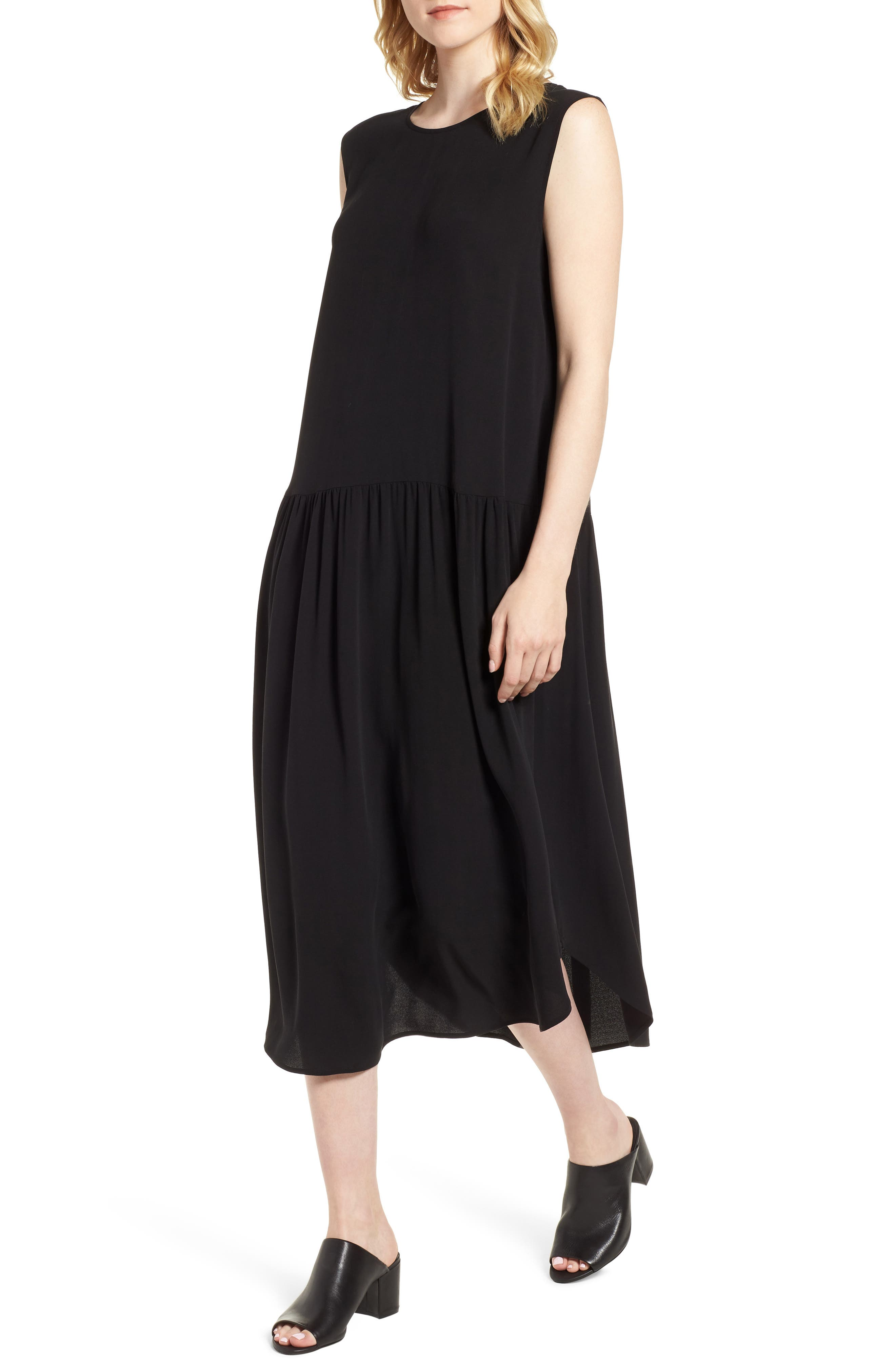 Drop Waist Silk Midi Dress,                             Main thumbnail 1, color,                             001