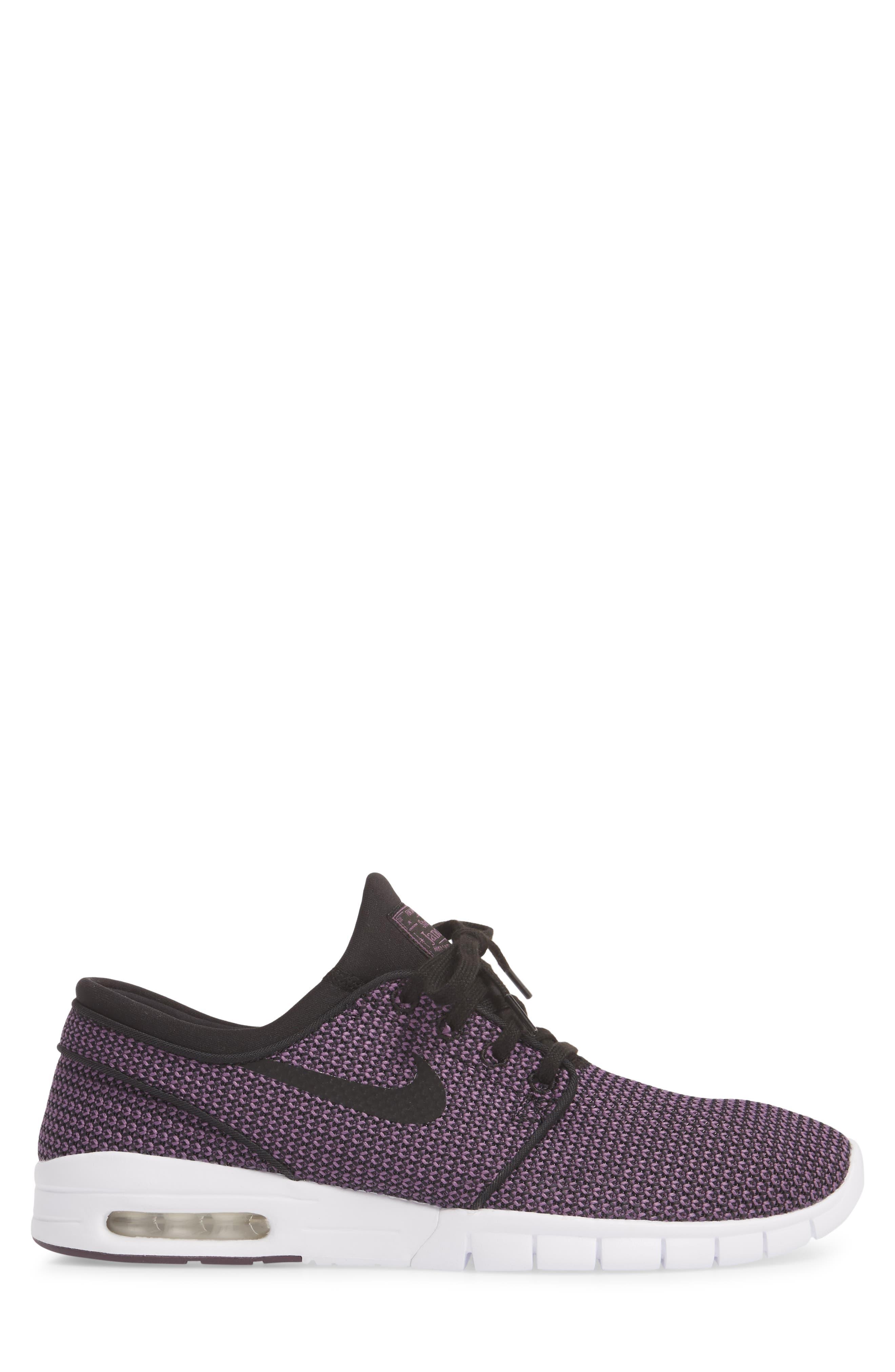 'Stefan Janoski - Max SB' Skate Shoe,                             Alternate thumbnail 4, color,                             BLACK/ PRO PURPLE/ WHITE