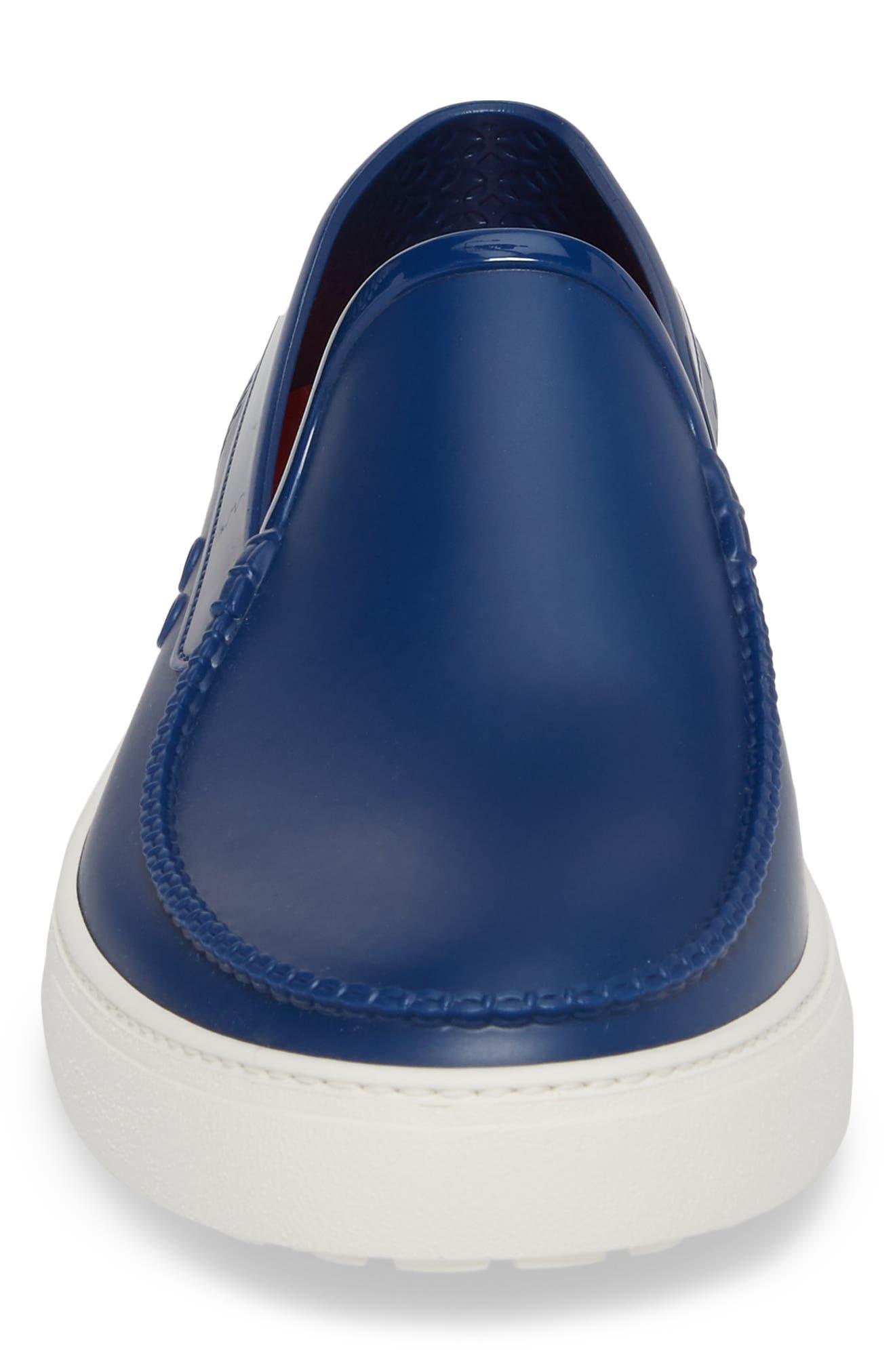 Fury Slip-On Sneaker,                             Alternate thumbnail 4, color,                             JET BLUE LEATHER