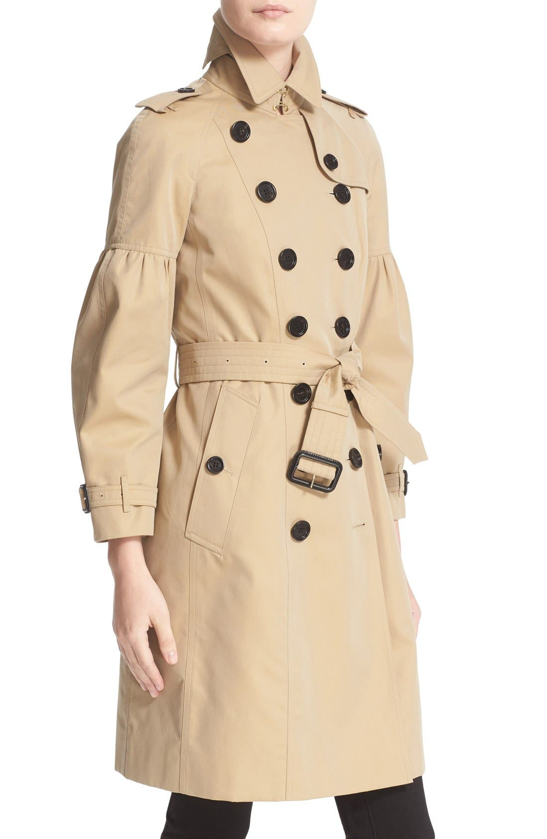 BURBERRY,                             Redhill Puff Sleeve Cotton Trench,                             Alternate thumbnail 3, color,                             250
