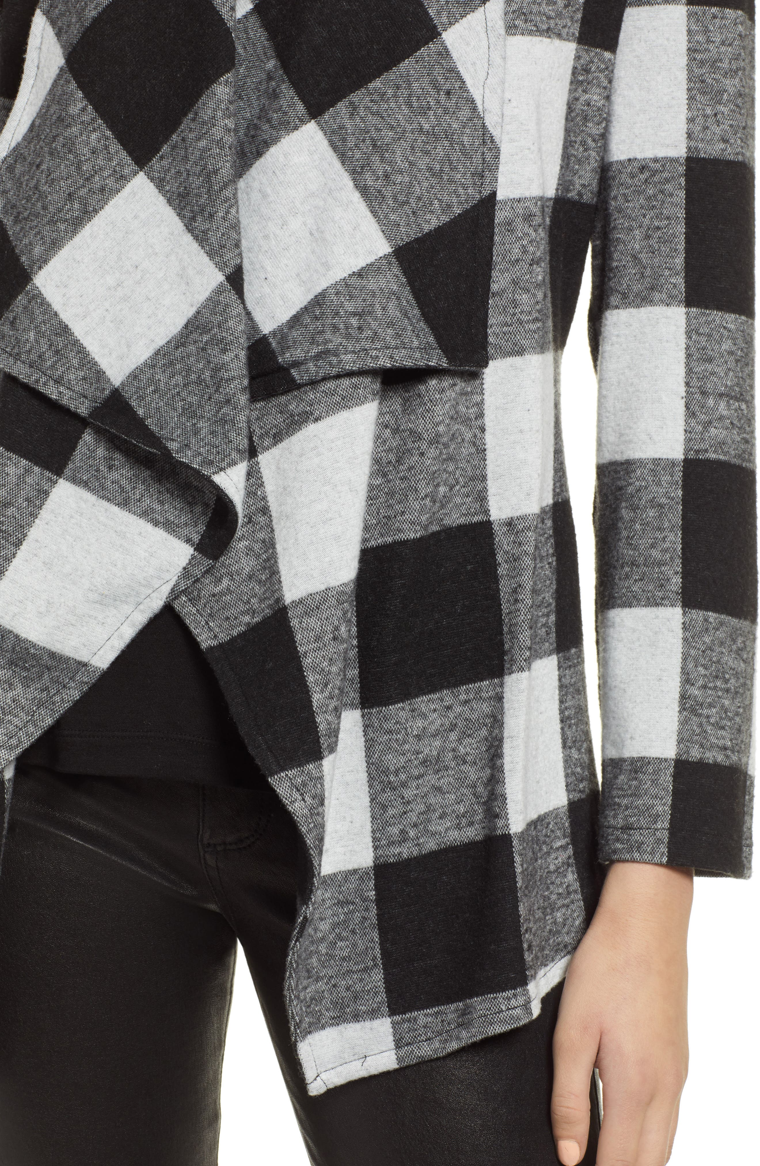Checking It Open Front Knit Jacket,                             Alternate thumbnail 4, color,                             BLACK