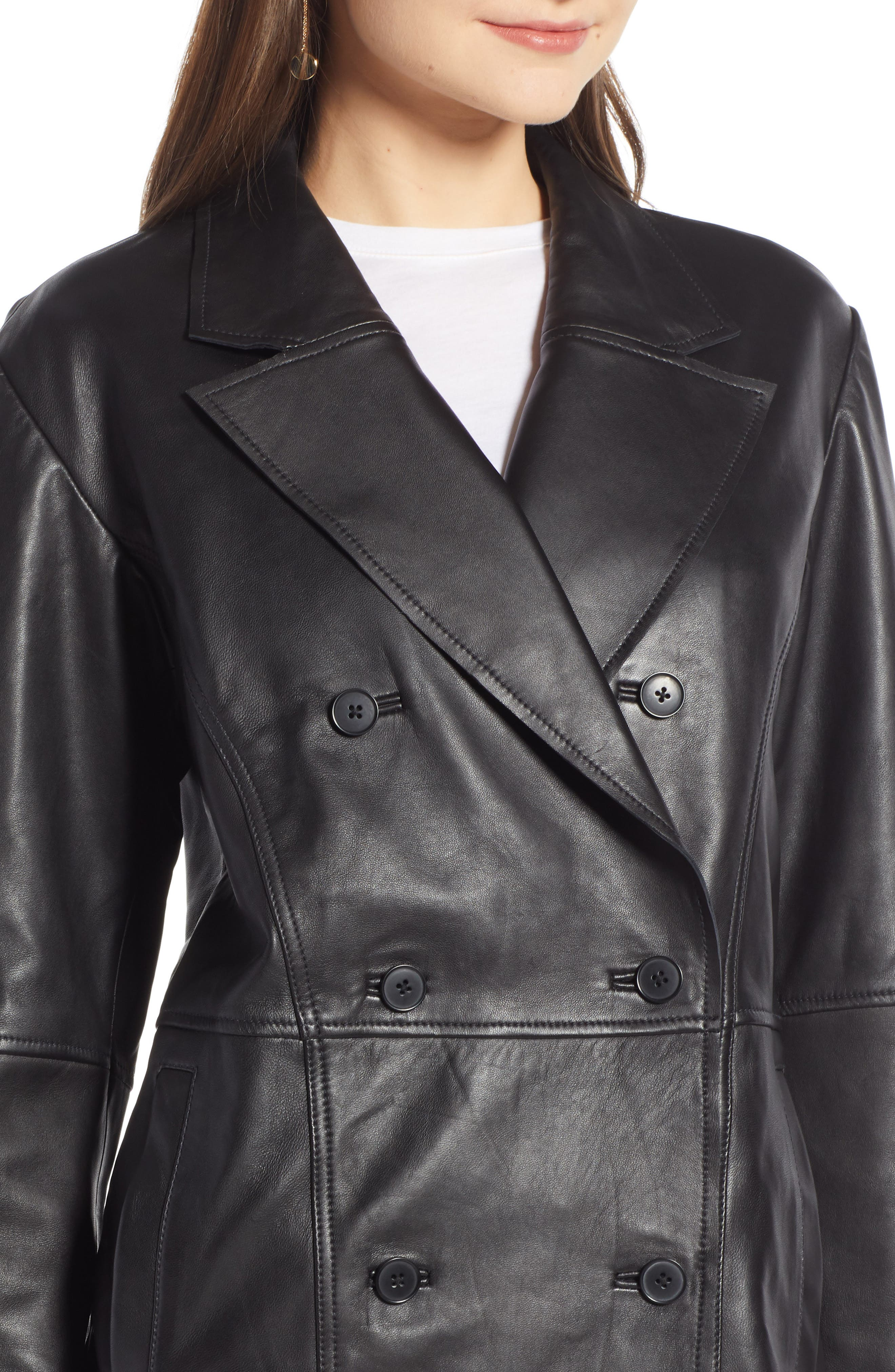 Double Breasted Leather Coat,                             Alternate thumbnail 4, color,                             BLACK