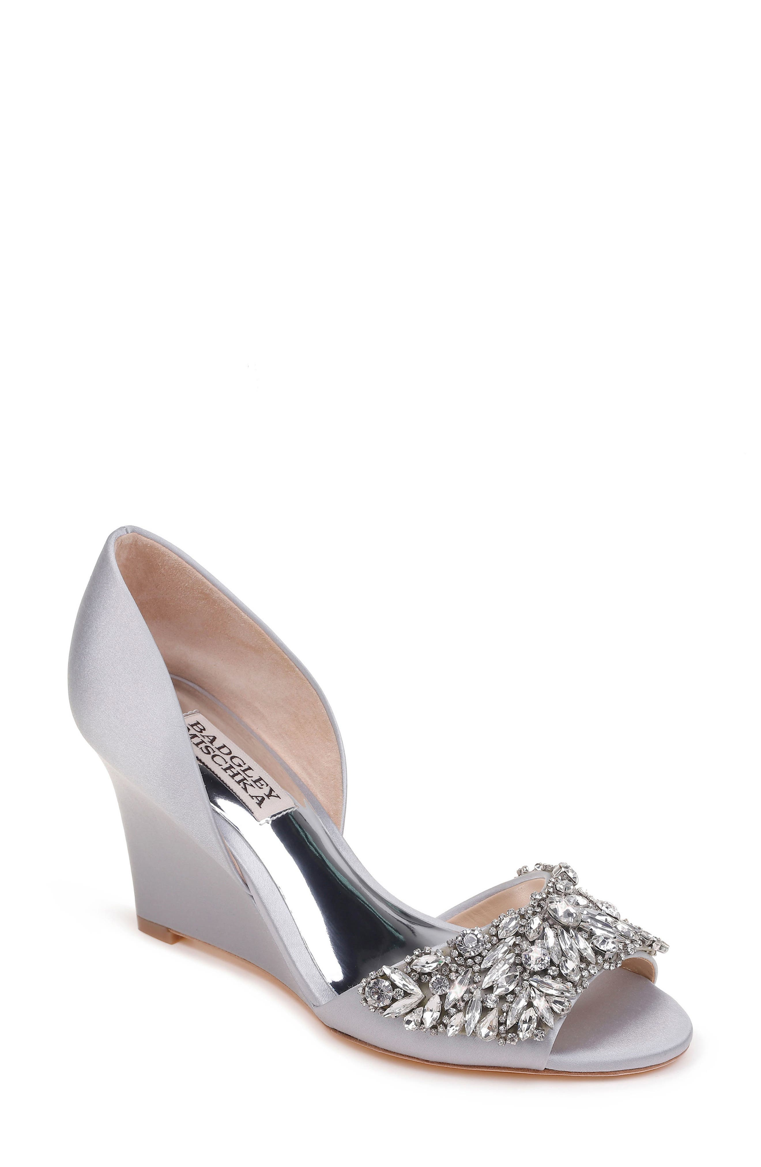 Hardy Embellished Wedge,                             Main thumbnail 1, color,                             SILVER SATIN
