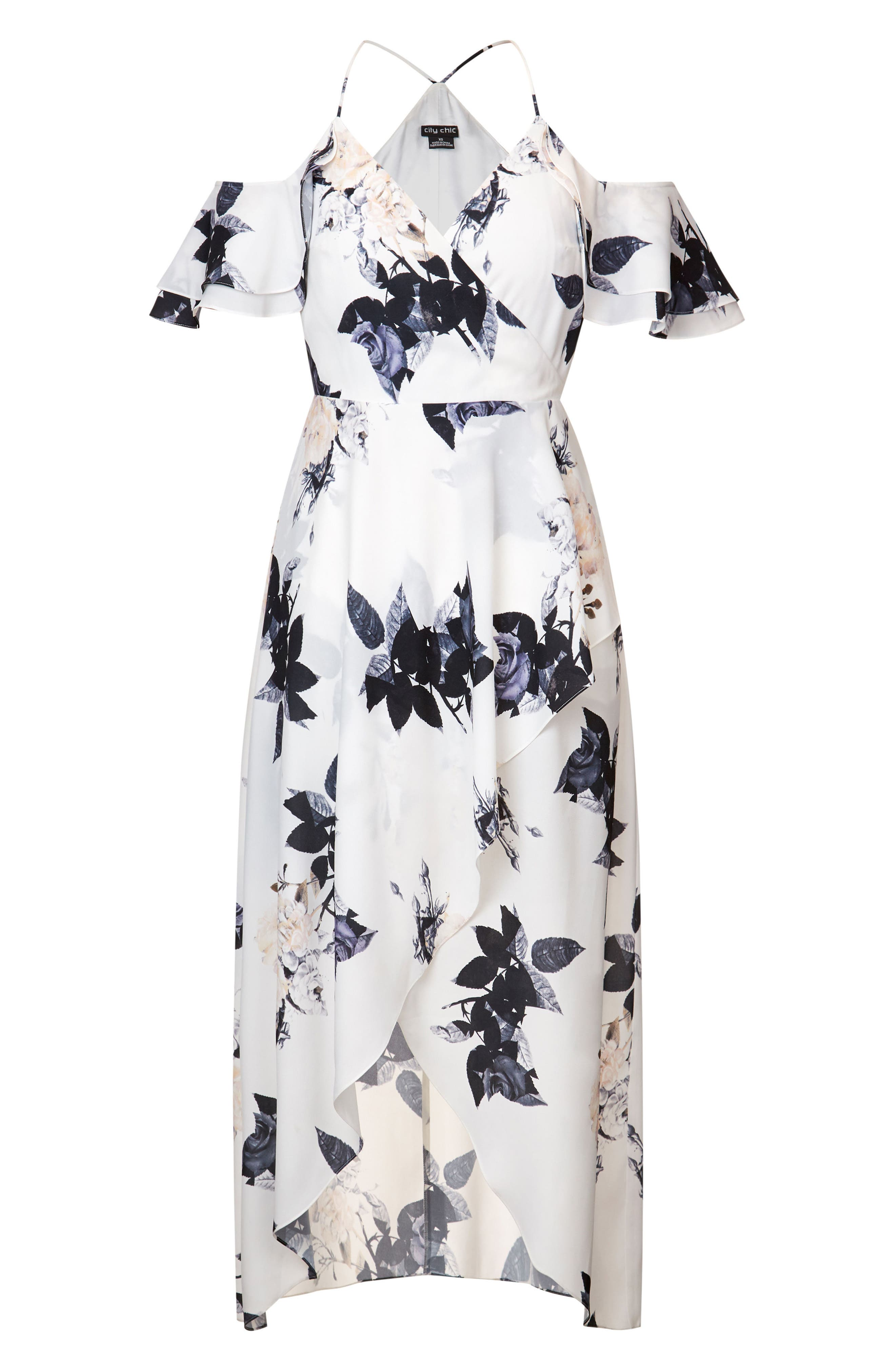 Floral Print Ruffle Maxi Dress,                             Alternate thumbnail 4, color,                             CREAM FLORAL