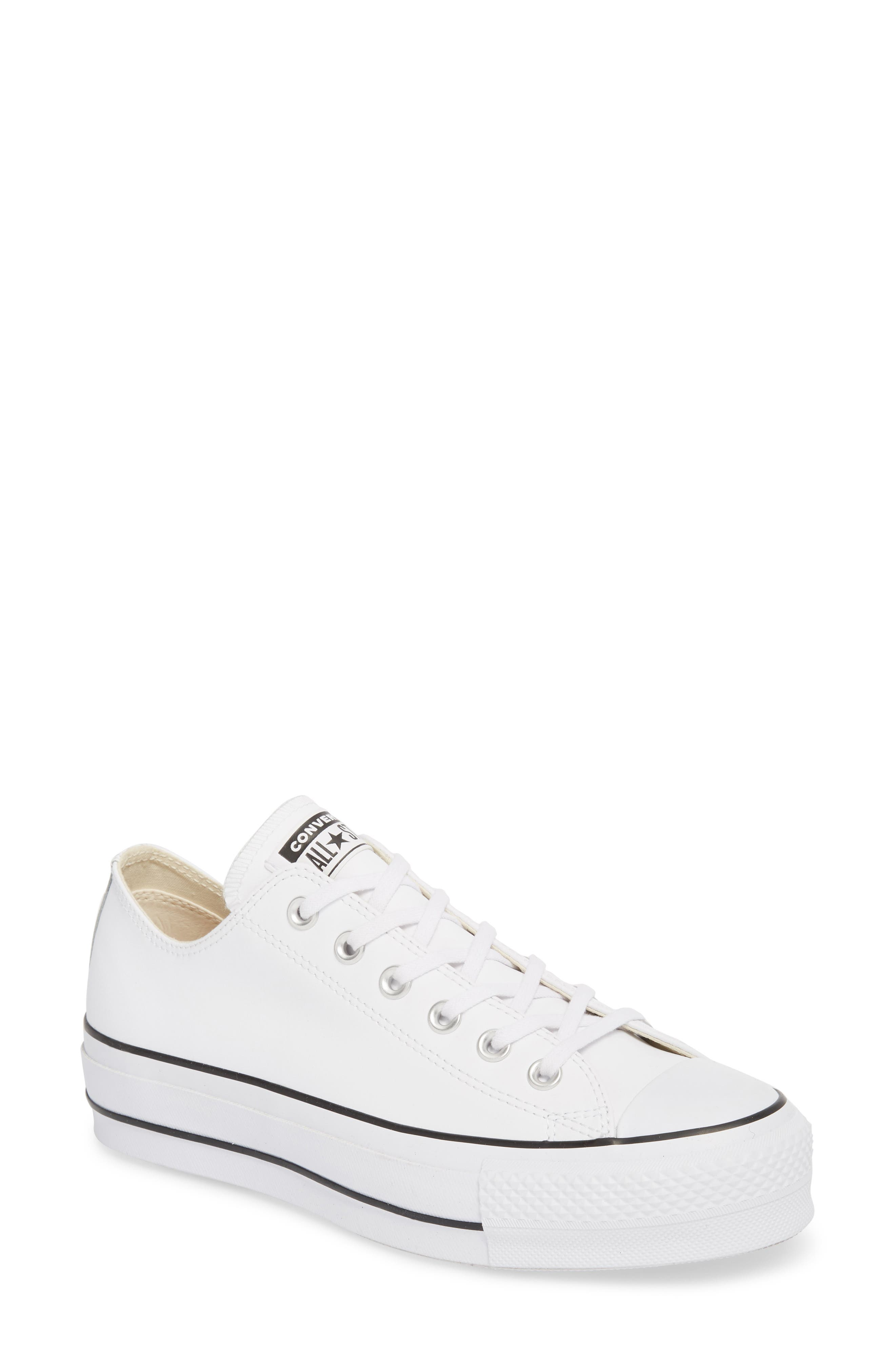 Chuck Taylor<sup>®</sup> All Star<sup>®</sup> Platform Sneaker,                             Main thumbnail 1, color,                             WHITE LEATHER
