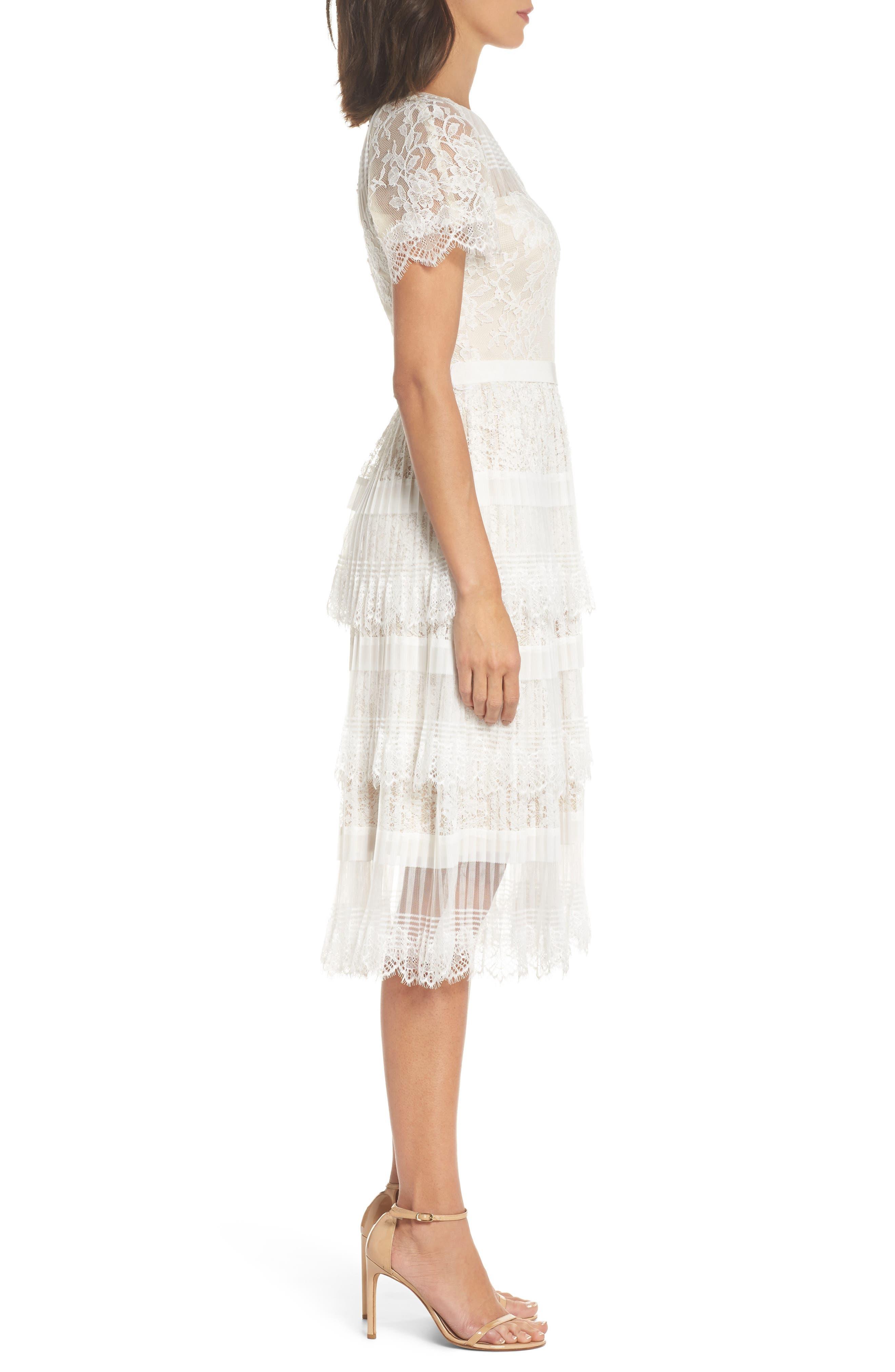 Nixie Tea Length Lace Dress,                             Alternate thumbnail 3, color,                             113